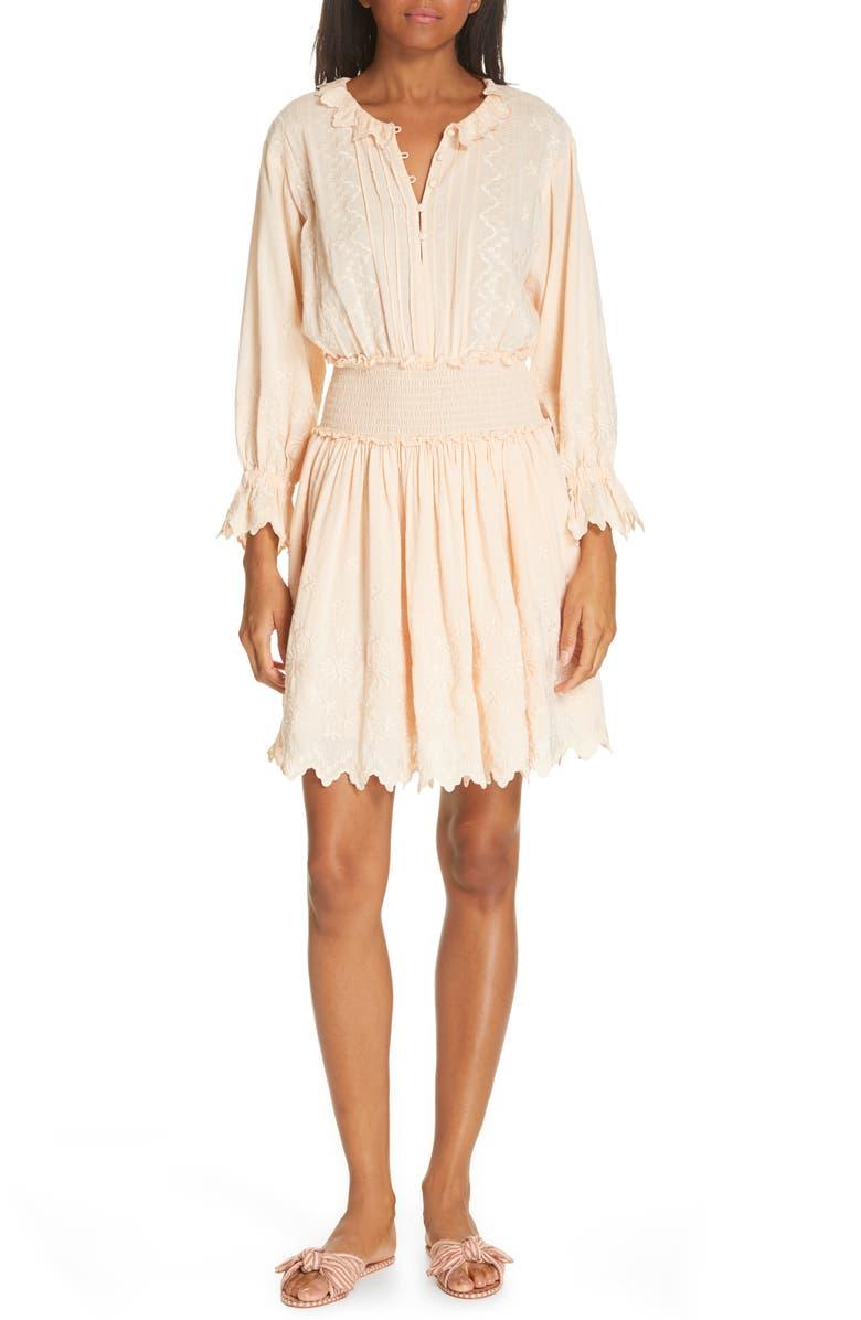La Vie Rebecca Taylor EMBROIDERED CHECK PRINT DRESS