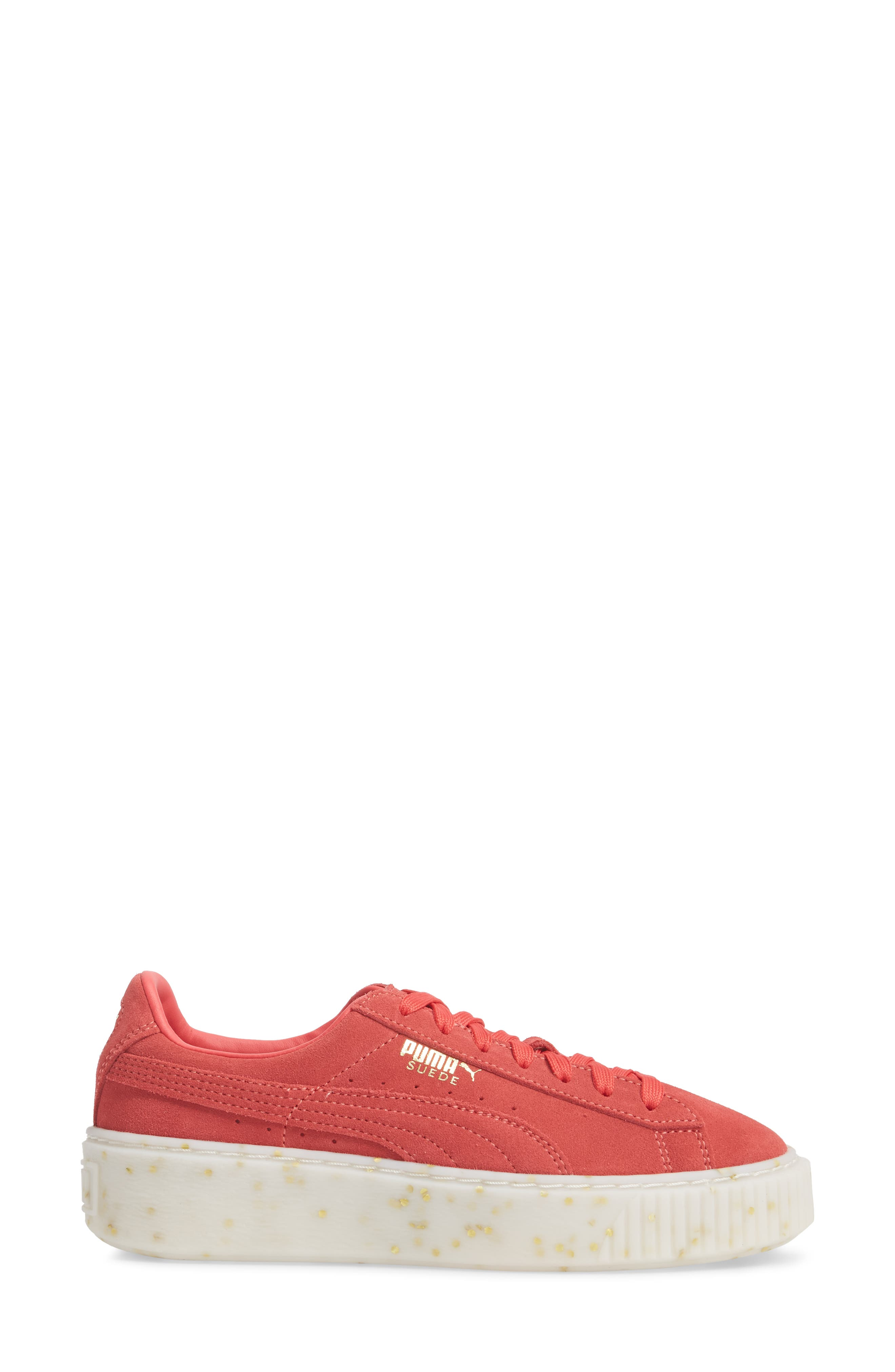 PUMA, Suede Platform Sneaker, Alternate thumbnail 3, color, PARADISE PINK/ TEAM GOLD