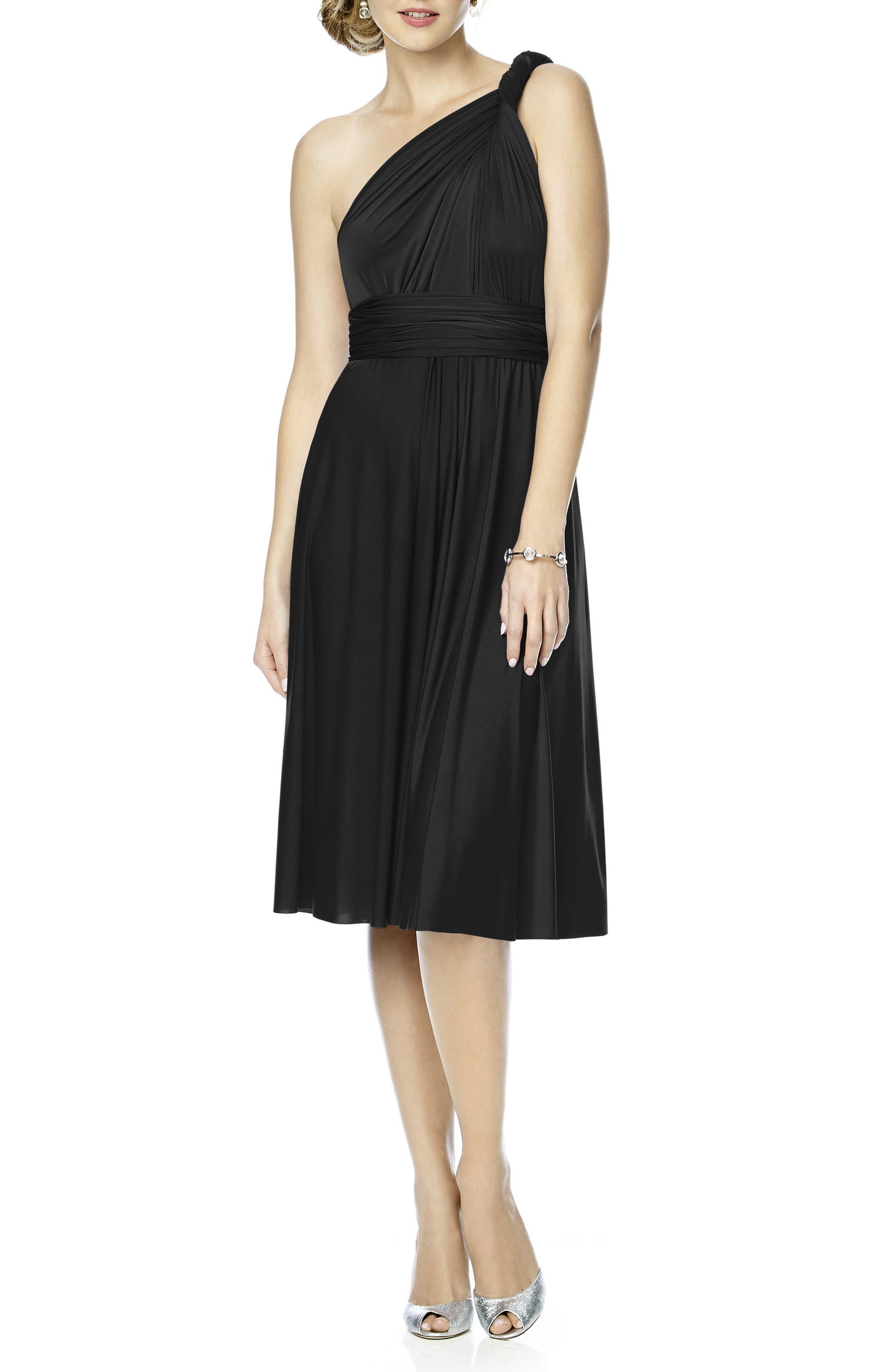 DESSY COLLECTION, Convertible Wrap Tie Surplice Jersey Dress, Alternate thumbnail 4, color, 001