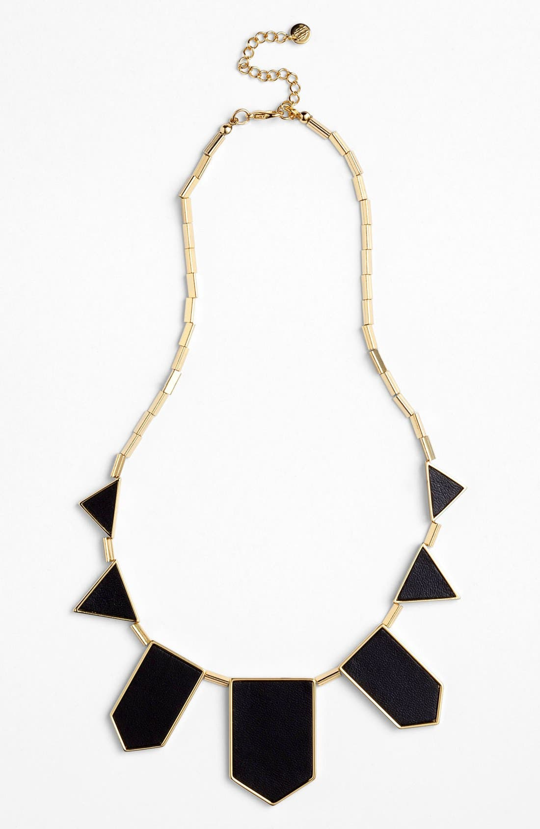HOUSE OF HARLOW 1960, Leather Station Necklace, Alternate thumbnail 2, color, 001