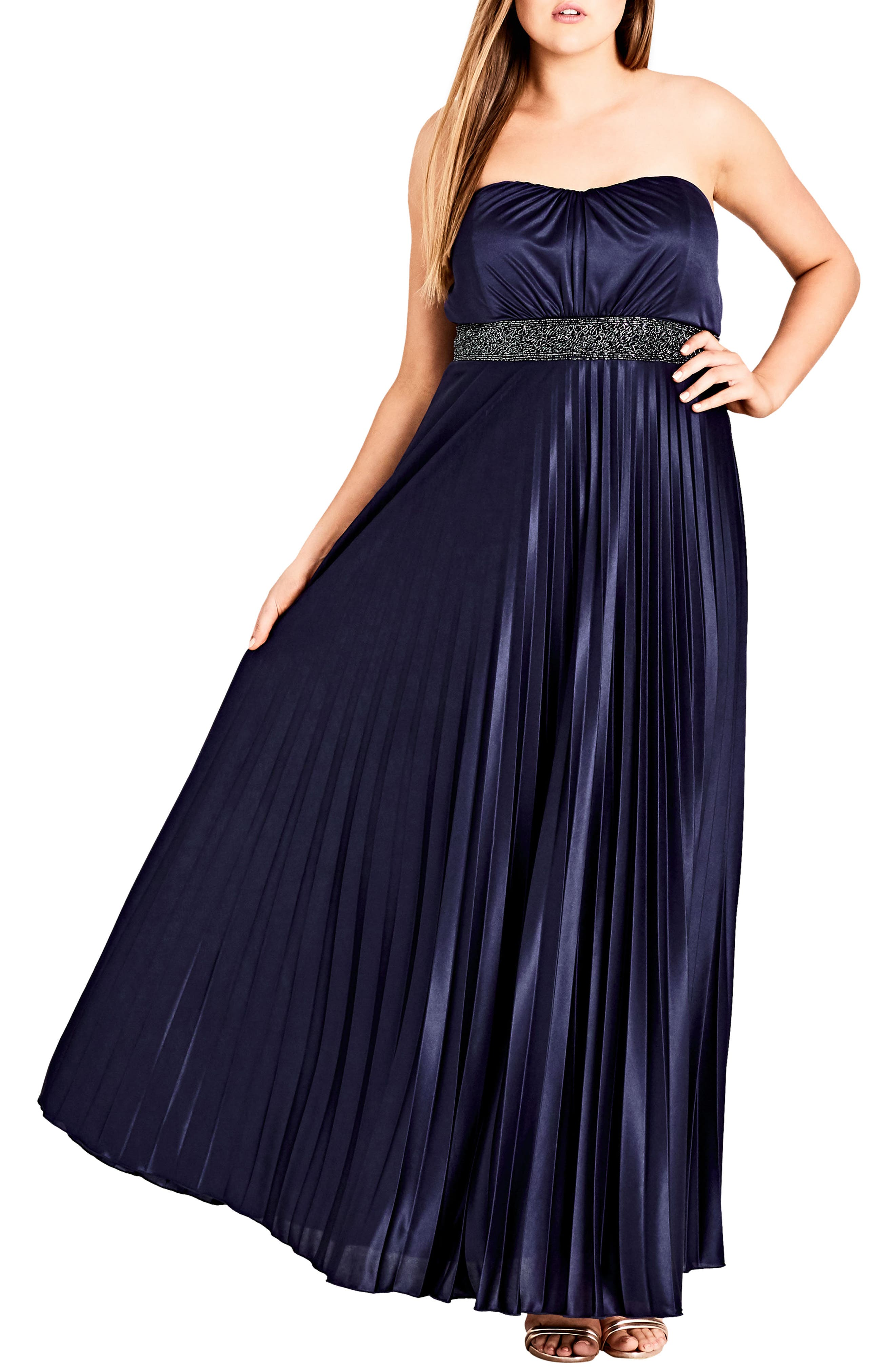 Plus Size City Chic Helena Embellished Strapless Maxi Dress, Blue