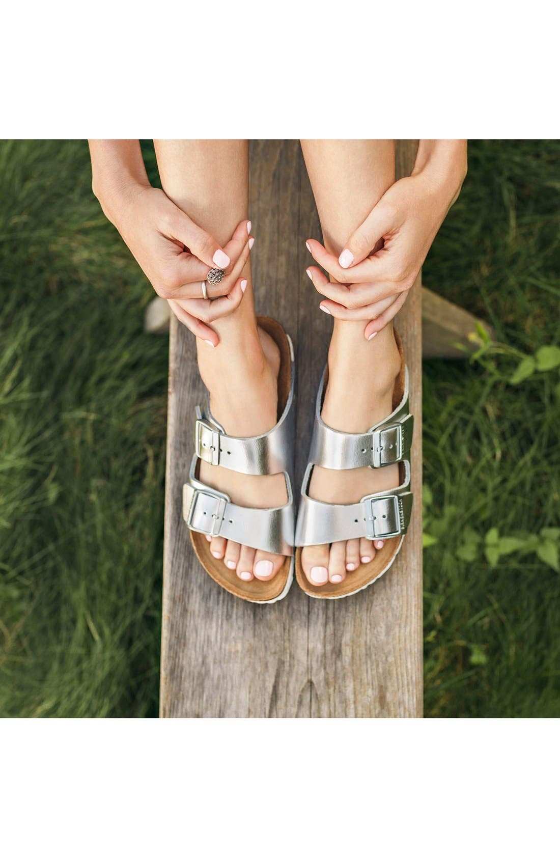 BIRKENSTOCK, Arizona Soft Footbed Sandal, Alternate thumbnail 8, color, BLACK/ BLACK
