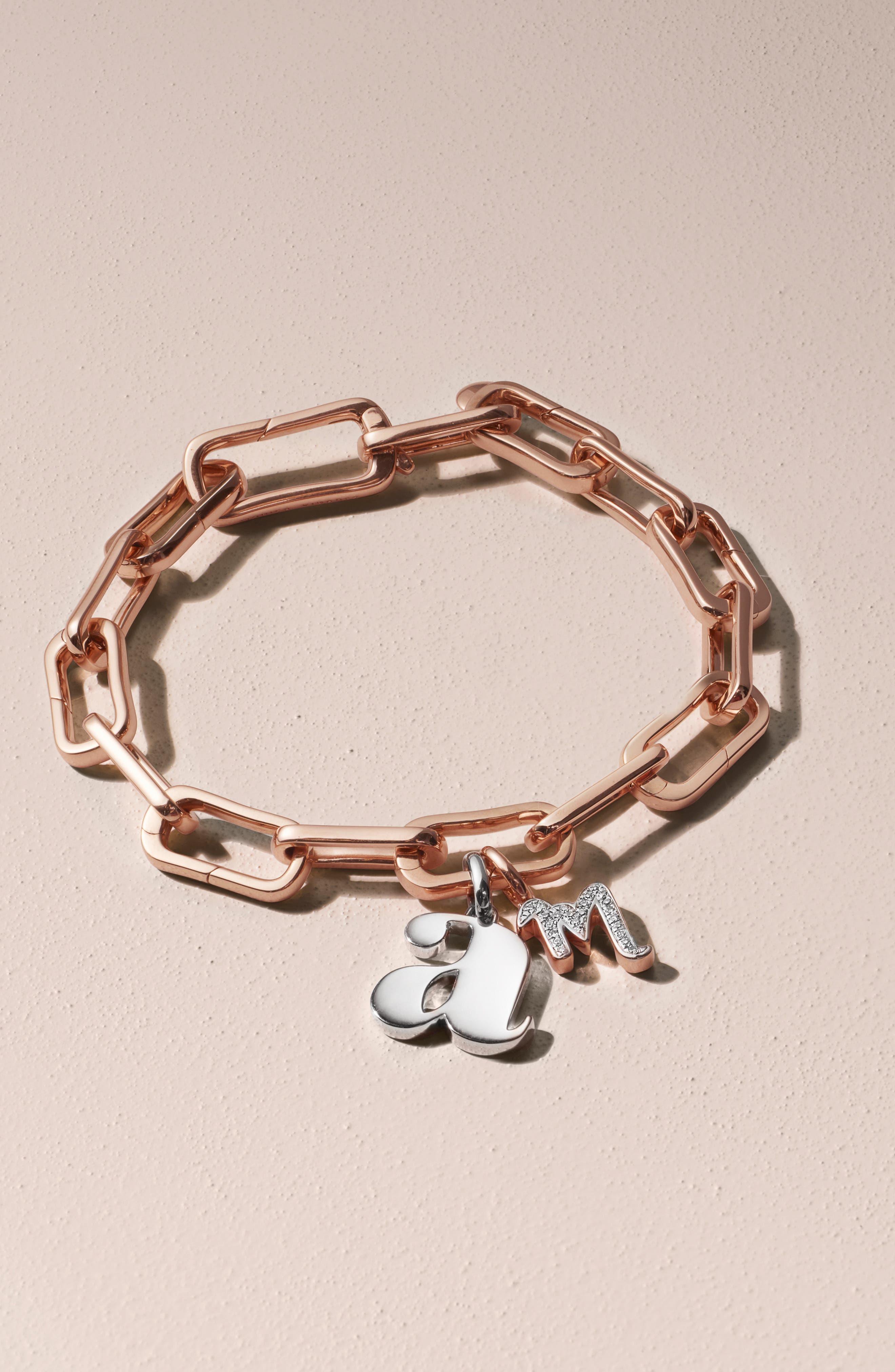 MONICA VINADER, Alta Capture Link Chain Bracelet, Alternate thumbnail 7, color, ROSE GOLD