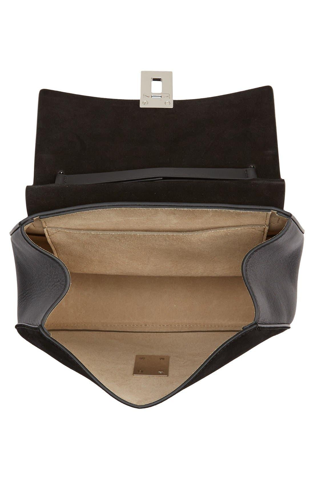 CHLOÉ, Small Drew Leather & Suede Shoulder Bag, Alternate thumbnail 4, color, 001