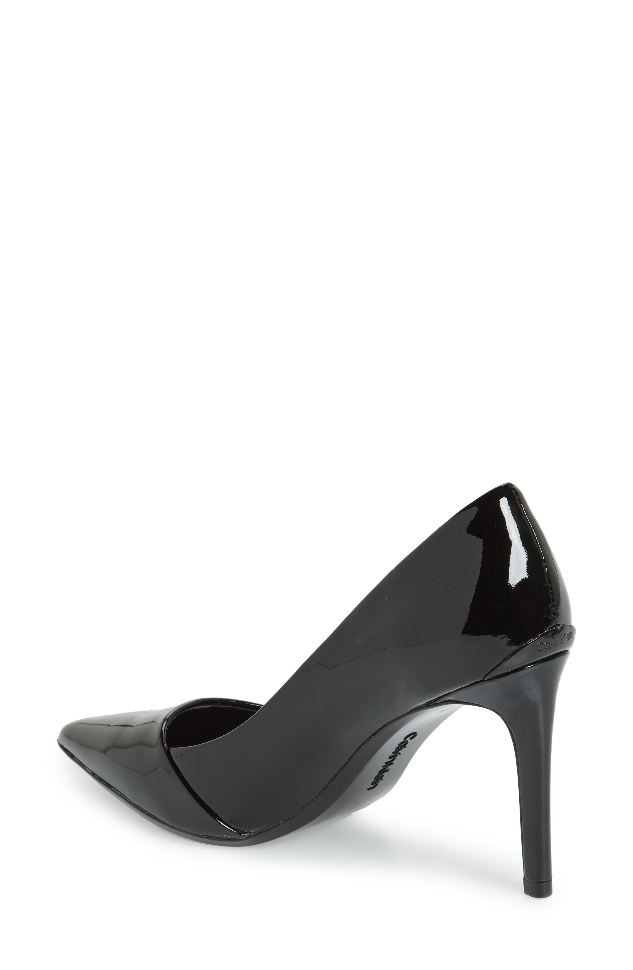 CALVIN KLEIN, Roslyn Pointed Toe Pump, Alternate thumbnail 2, color, BLACK PATENT LEATHER