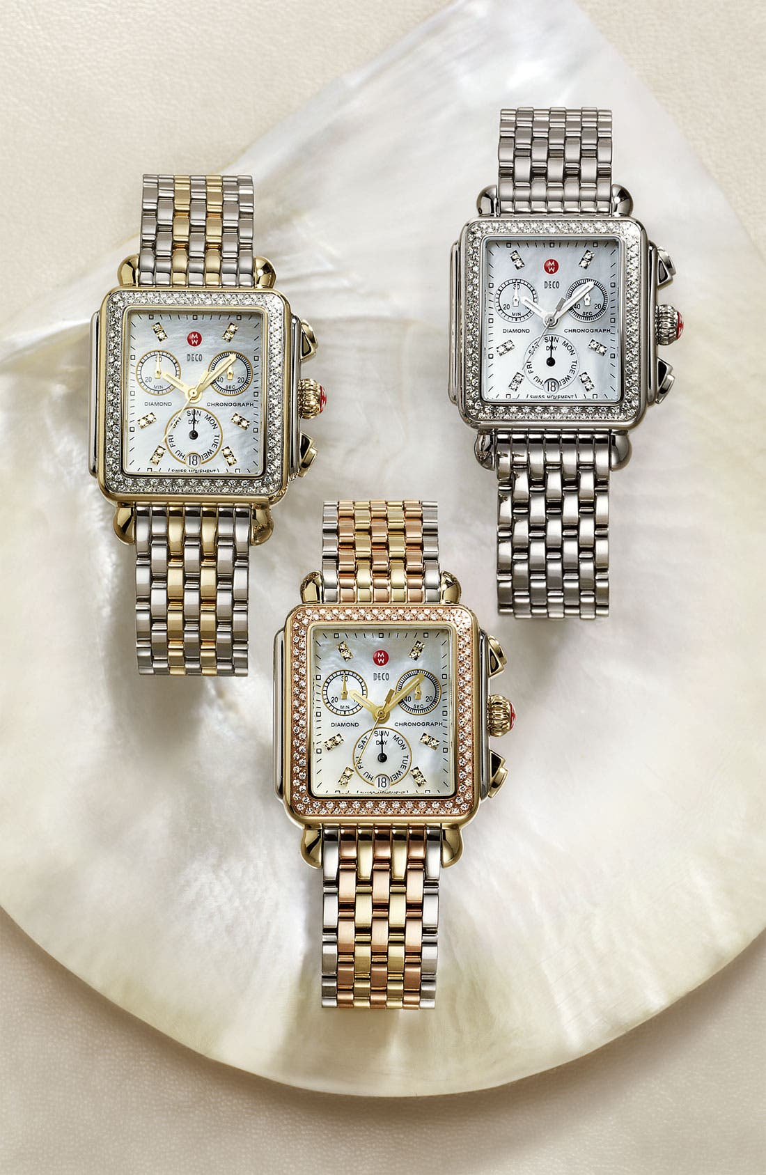 MICHELE, Deco Diamond Diamond Dial Two-Tone Watch Case, 33mm x 35mm, Alternate thumbnail 6, color, SILVER/ GOLD