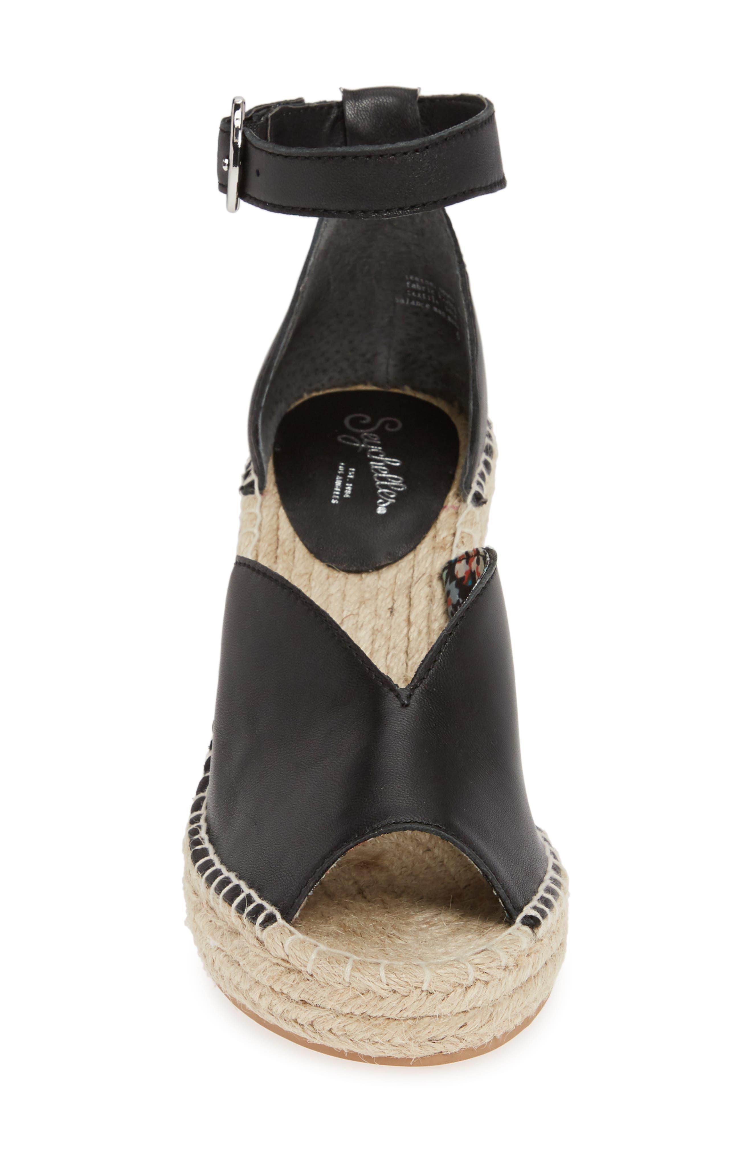 SEYCHELLES, Collectibles Espadrille Wedge Sandal, Alternate thumbnail 4, color, BLACK LEATHER