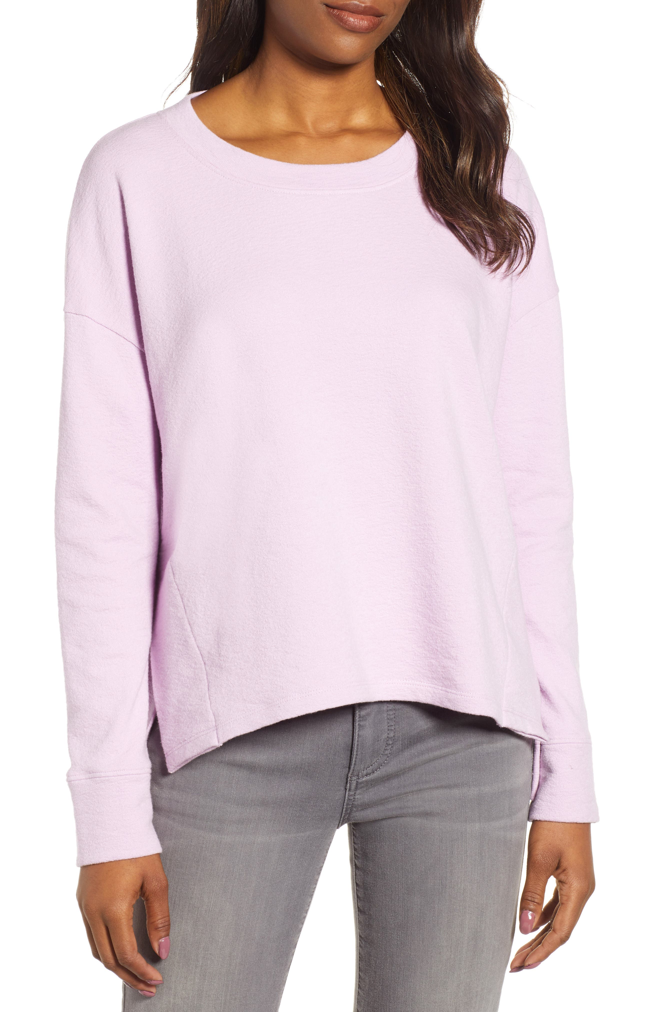 CASLON<SUP>®</SUP> Side Slit Relaxed Sweatshirt, Main, color, PINK BOUQUET