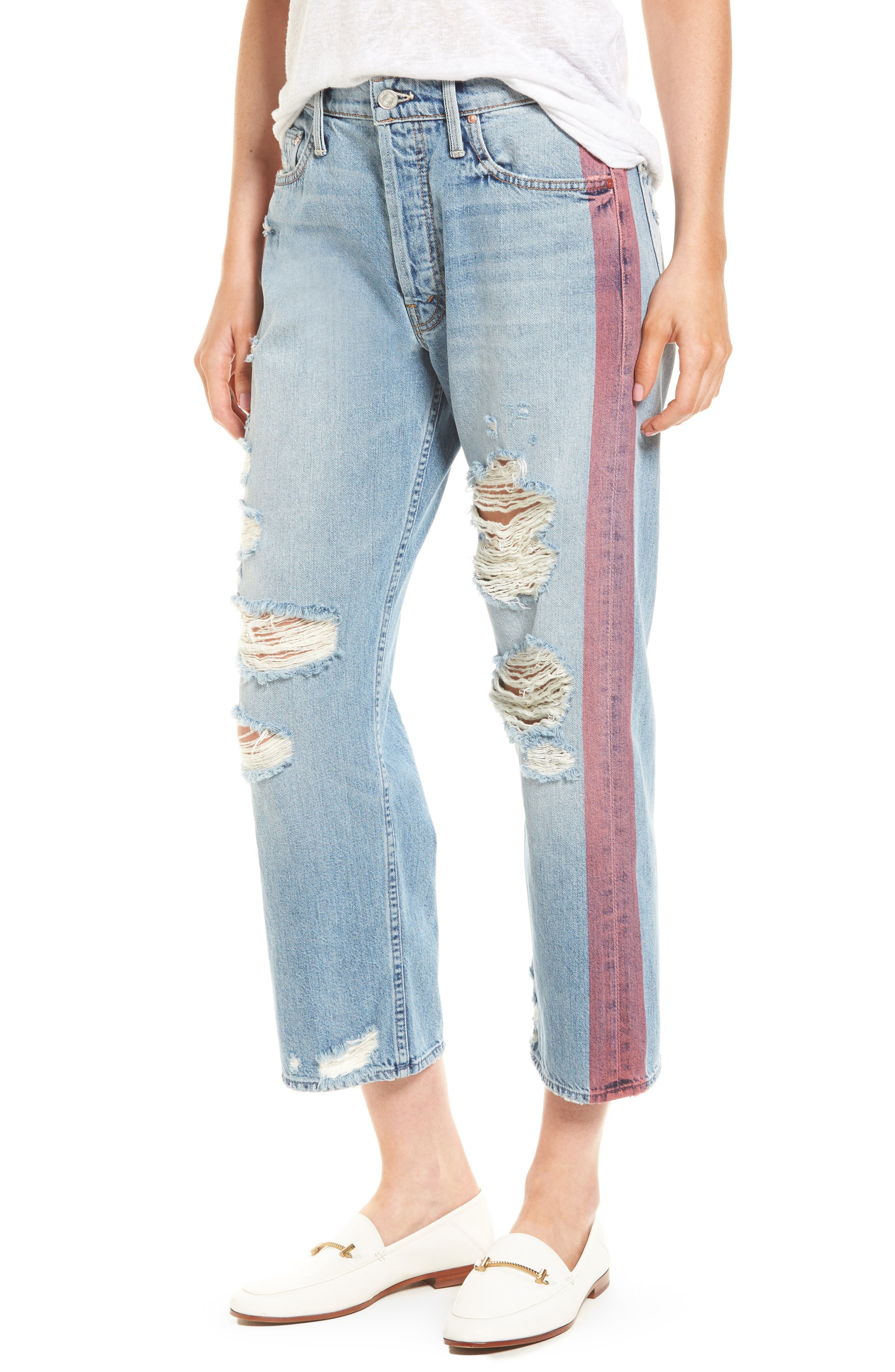 MOTHER, The Thrasher Side Stripe Straight Leg Jeans, Main thumbnail 1, color, 400