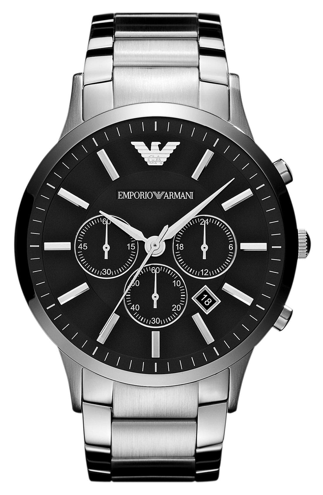 EMPORIO ARMANI, Large Round Chronograph Watch, 46mm, Main thumbnail 1, color, SILVER/ BLACK