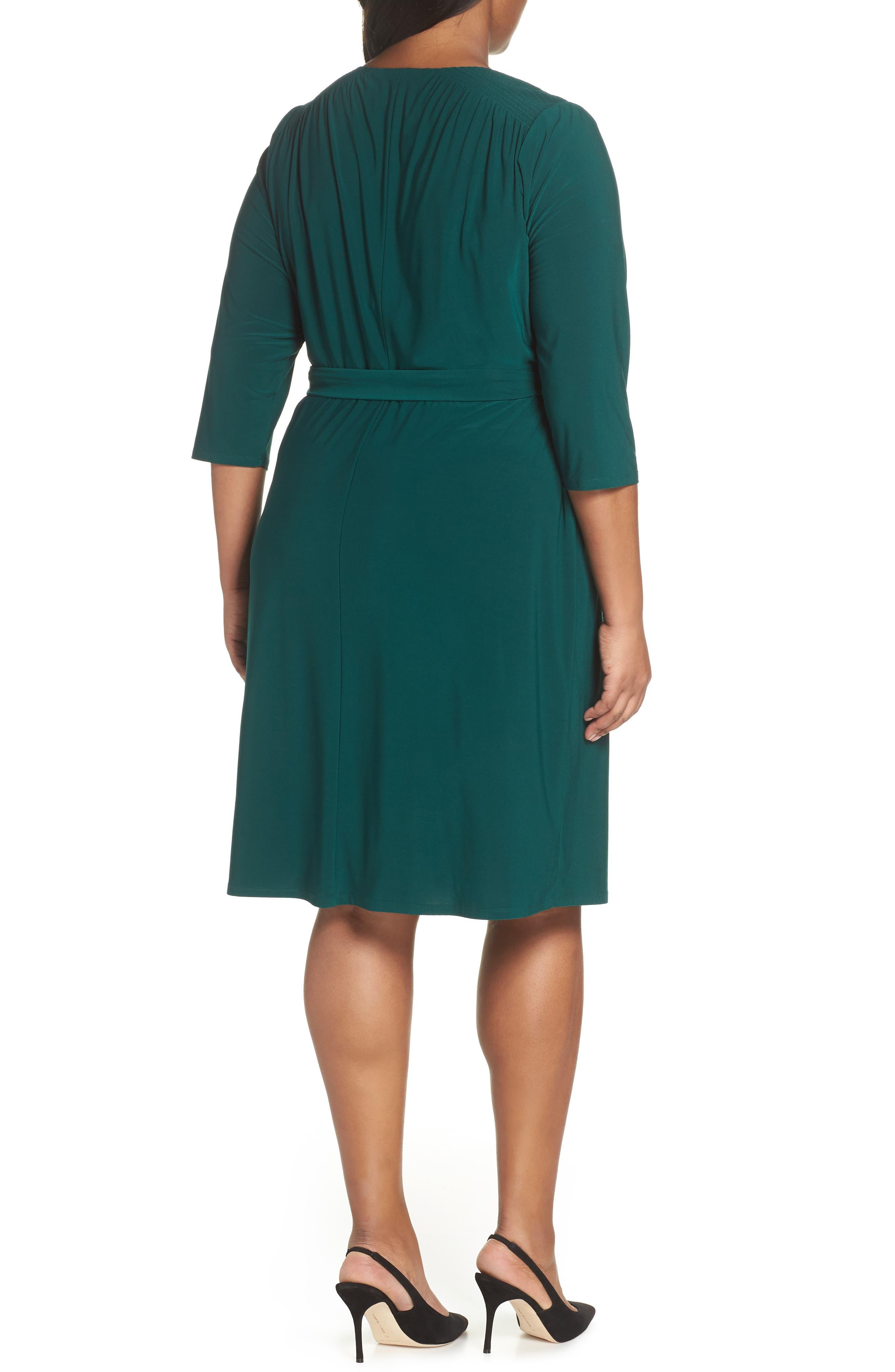 ELIZA J, Smocked Shoulder Wrap Dress, Alternate thumbnail 2, color, 376