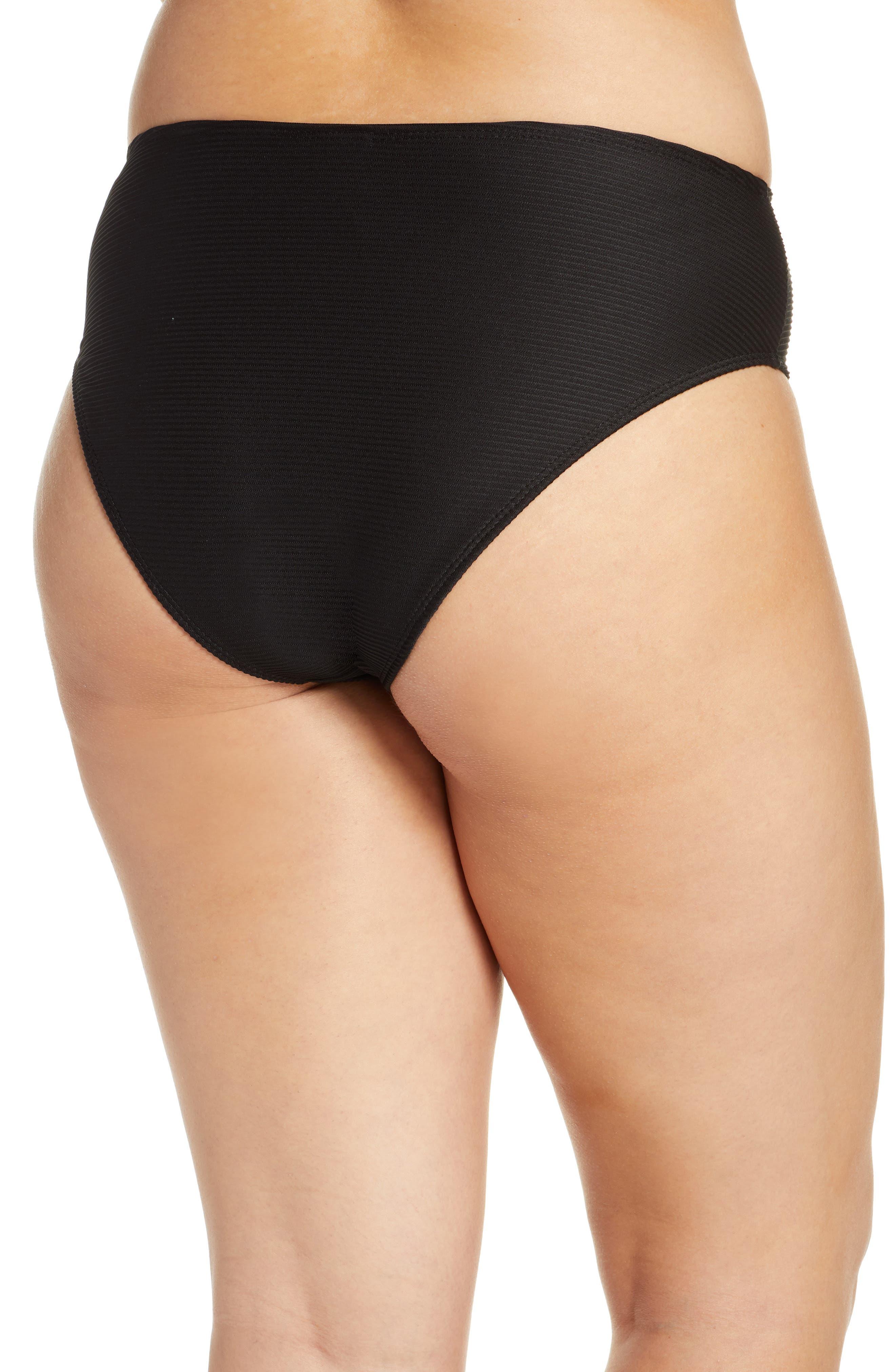 TOPSHOP, Ribbed High Waist Bikini Bottoms, Alternate thumbnail 6, color, BLACK