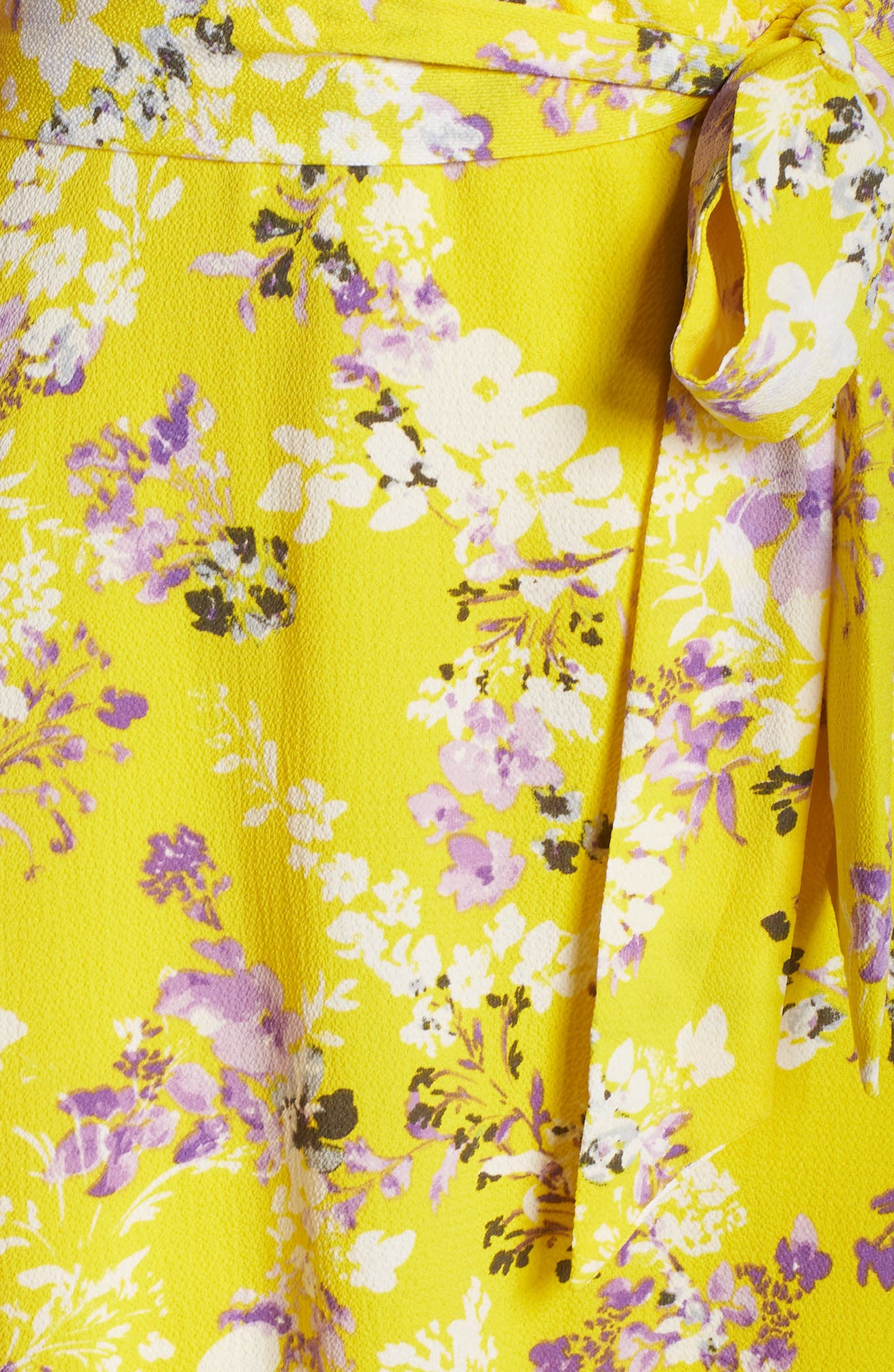 JULIA JORDAN, Floral Wrap Dress, Alternate thumbnail 6, color, YELLOW MULTI