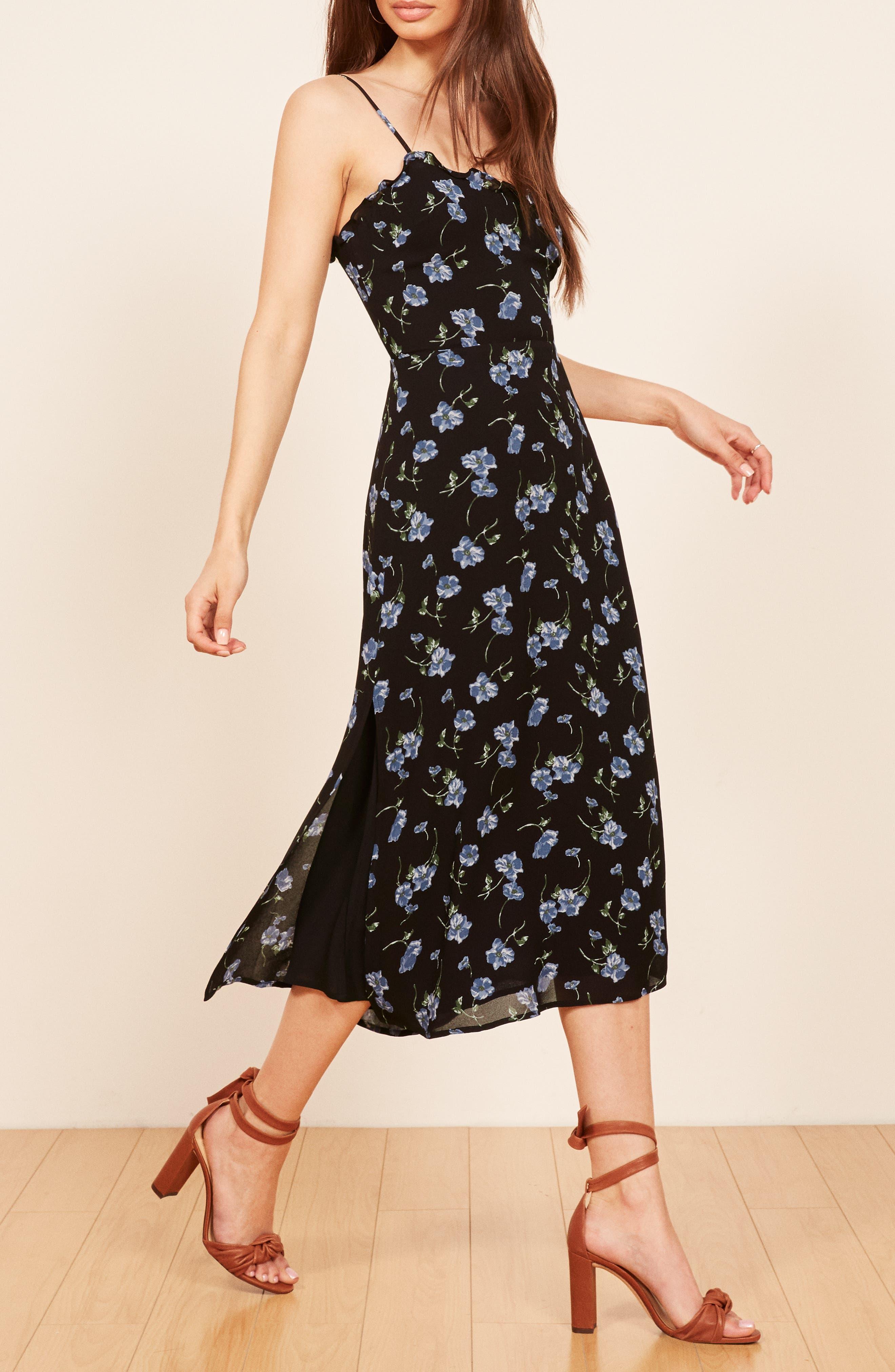 REFORMATION, Cassandra Floral Dress, Alternate thumbnail 5, color, 001