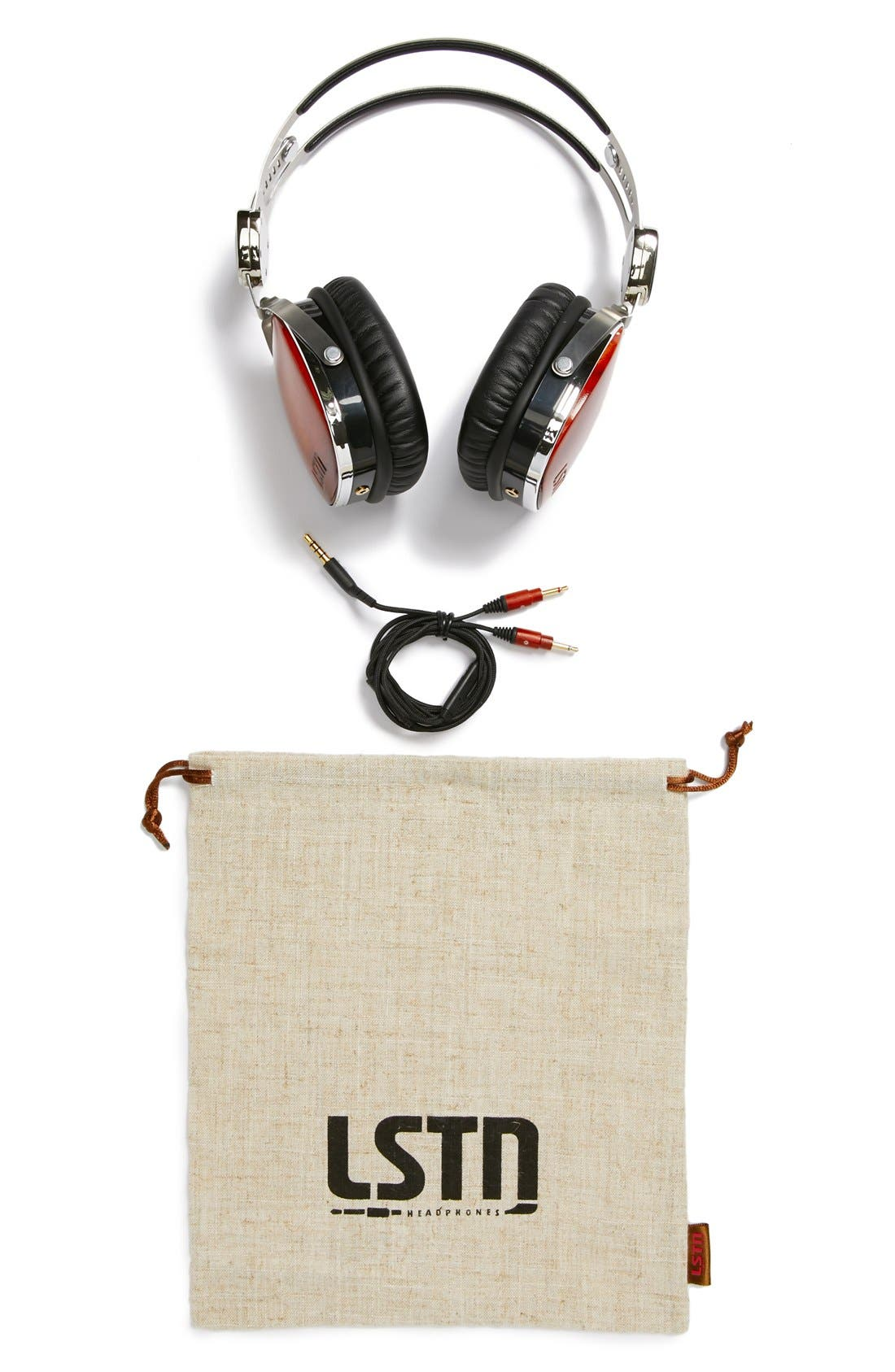 LSTN, 'Troubador' Cherry Wood Headphones, Alternate thumbnail 3, color, 200