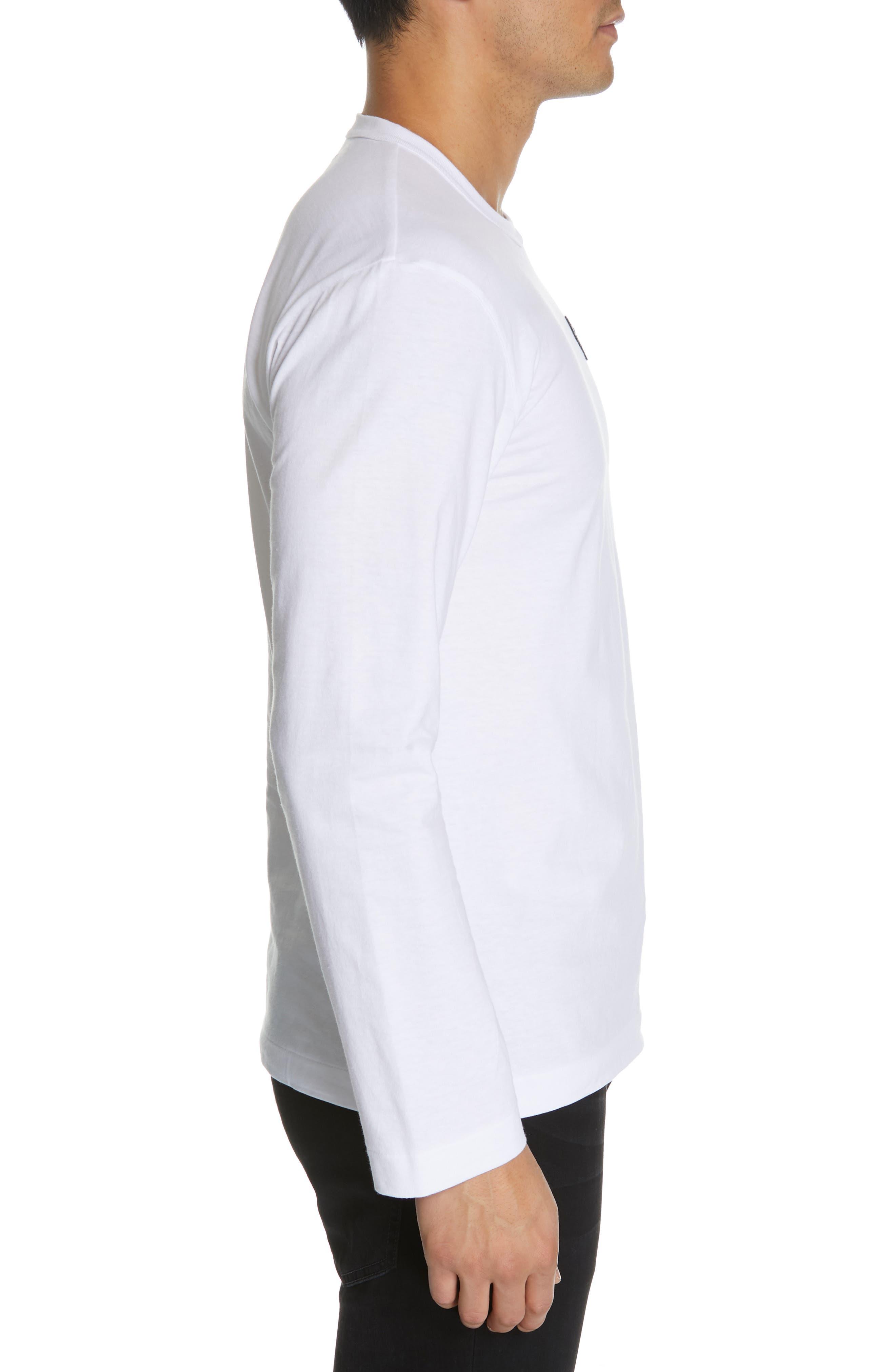 COMME DES GARÇONS PLAY, Black Heart T-Shirt, Alternate thumbnail 3, color, WHITE