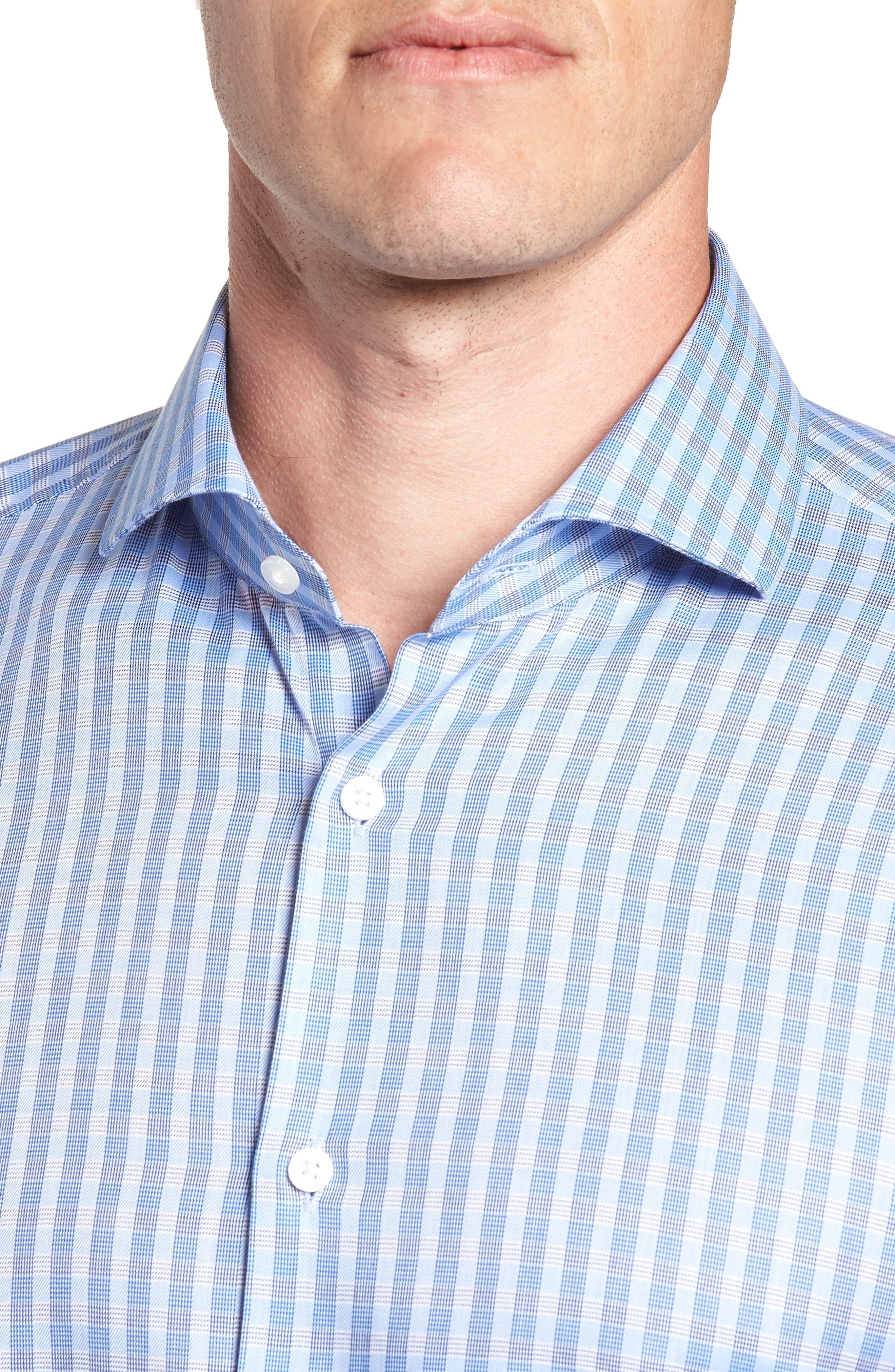 BOSS, Mark Sharp Fit Check Dress Shirt, Alternate thumbnail 2, color, BLUE