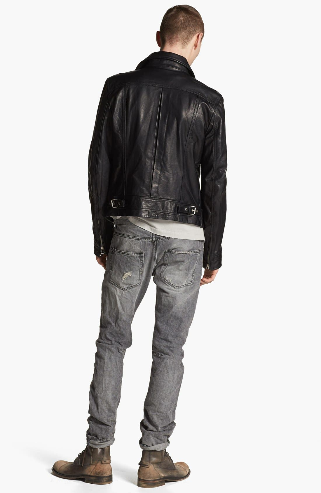 PIERRE BALMAIN, Leather Moto Jacket, Alternate thumbnail 5, color, 001