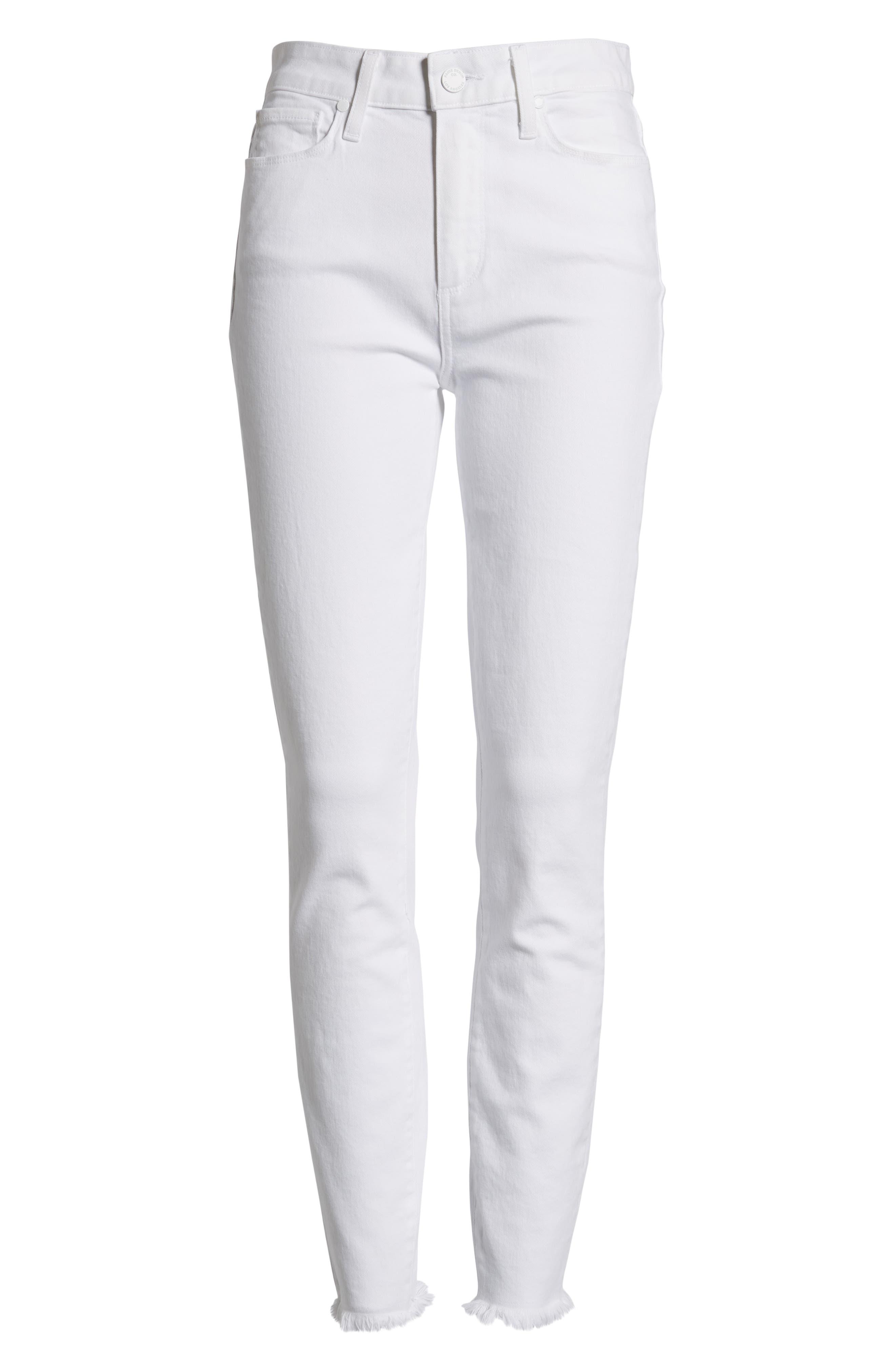PAIGE, Hoxton High Waist Ankle Skinny Jeans, Alternate thumbnail 7, color, CRISP WHITE