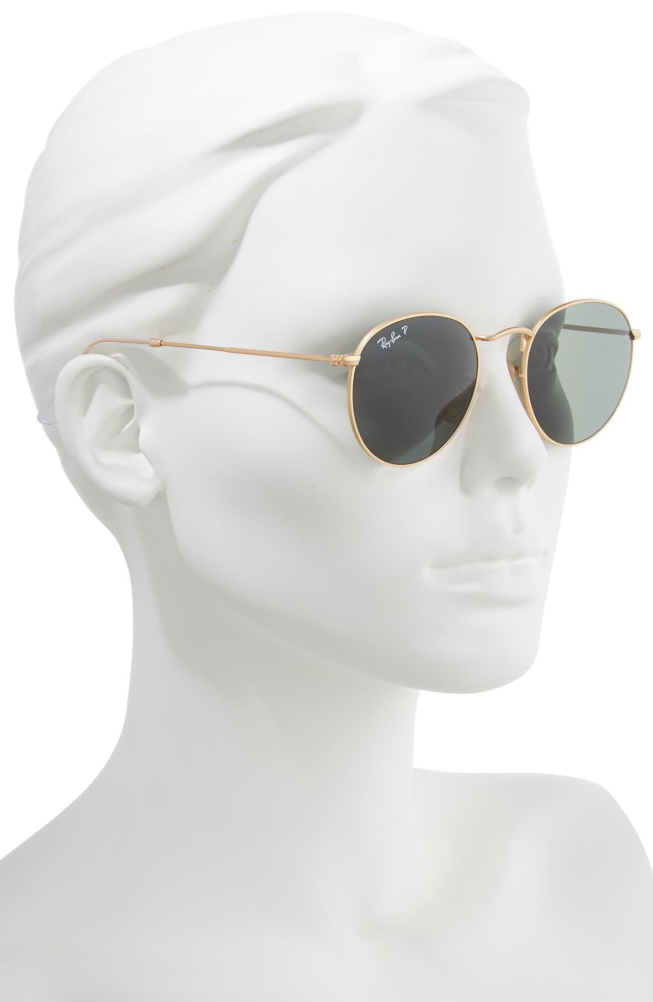 RAY-BAN, 50mm Polarized Round Sunglasses, Alternate thumbnail 2, color, 710