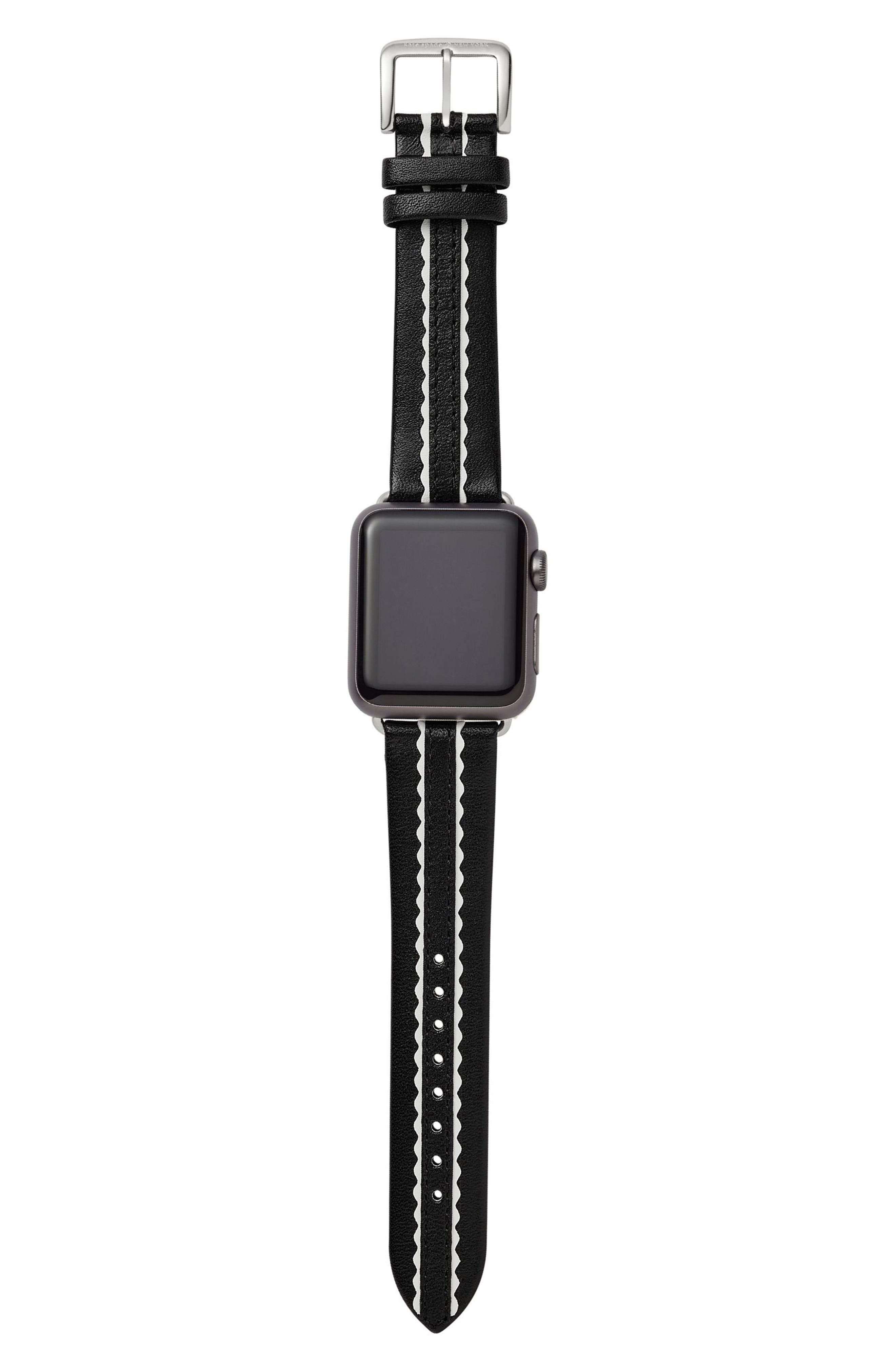 KATE SPADE NEW YORK, Apple Watch strap, 38mm, Alternate thumbnail 2, color, NUDE/ WHITE
