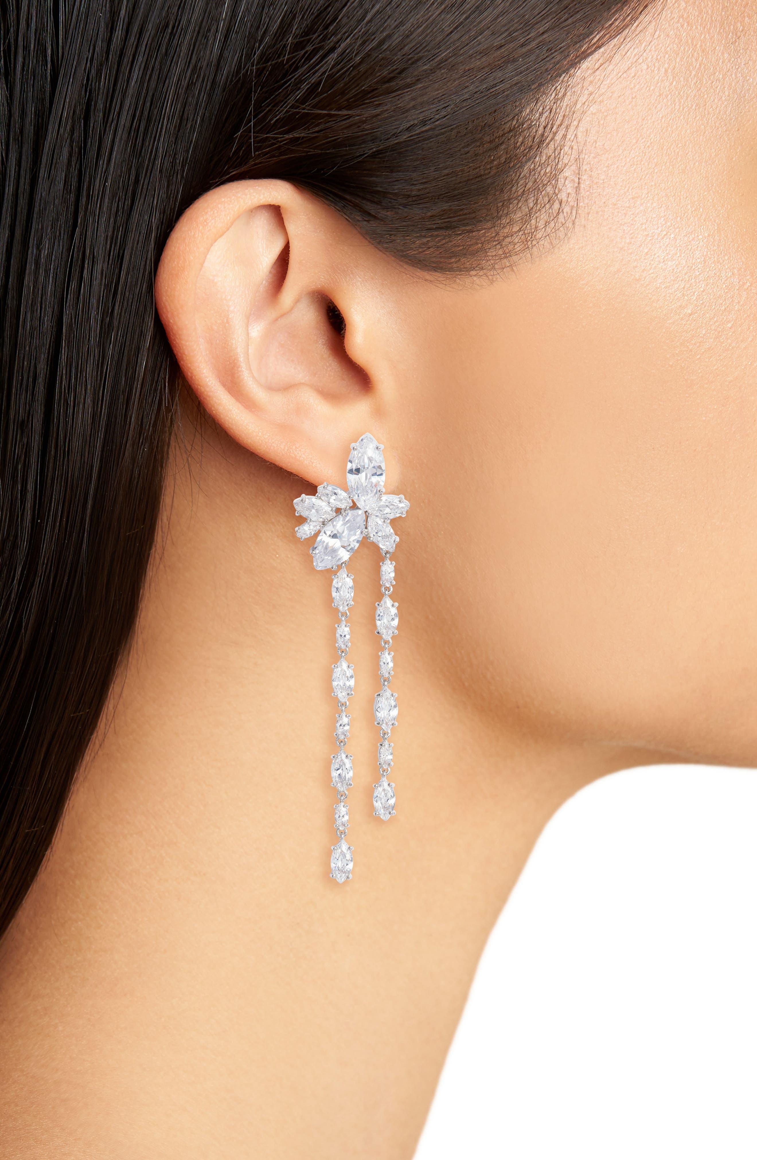 NINA, Floral Stone Cluster Drop Earrings, Alternate thumbnail 2, color, 040