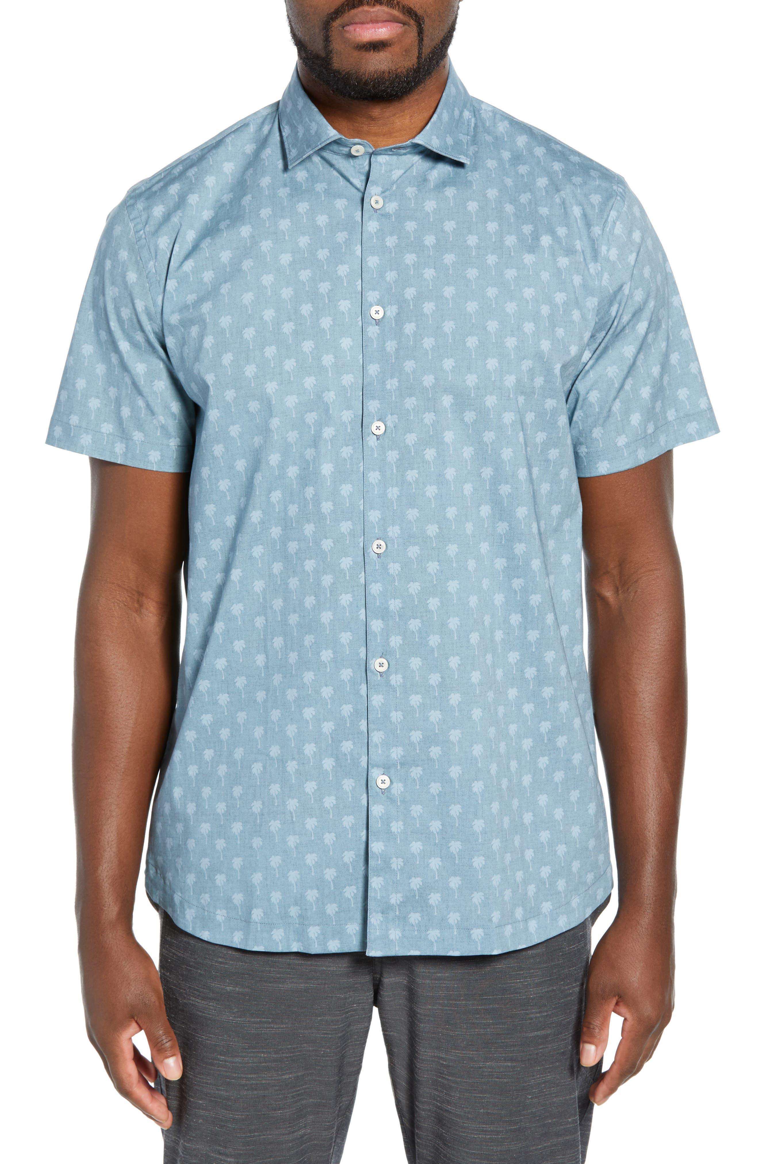 DEVEREUX Cabana Regular Fit Sport Shirt, Main, color, PALMS