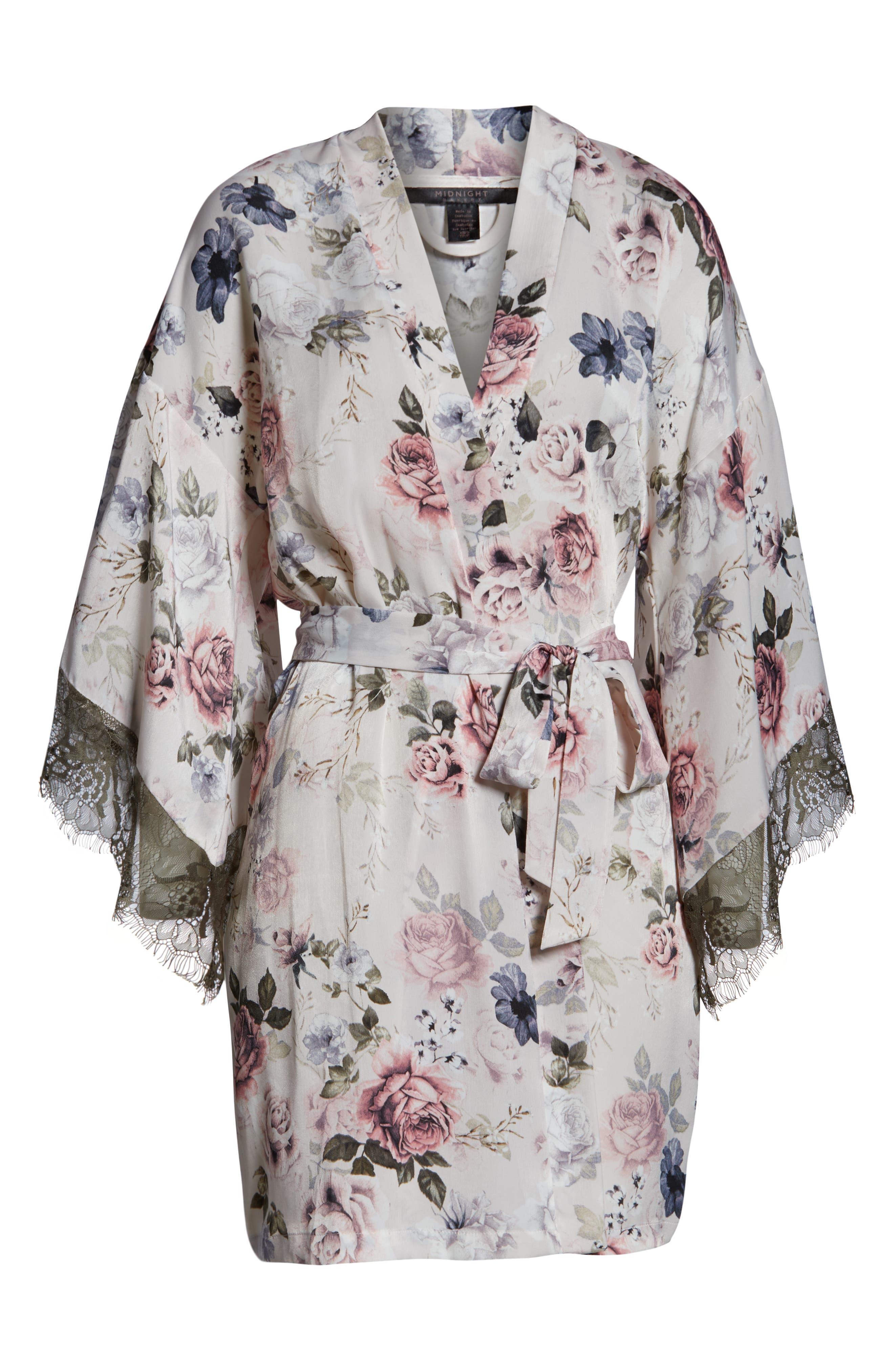 MIDNIGHT BAKERY, Satin Kimono Wrap, Alternate thumbnail 6, color, PRIMROSE PRINT