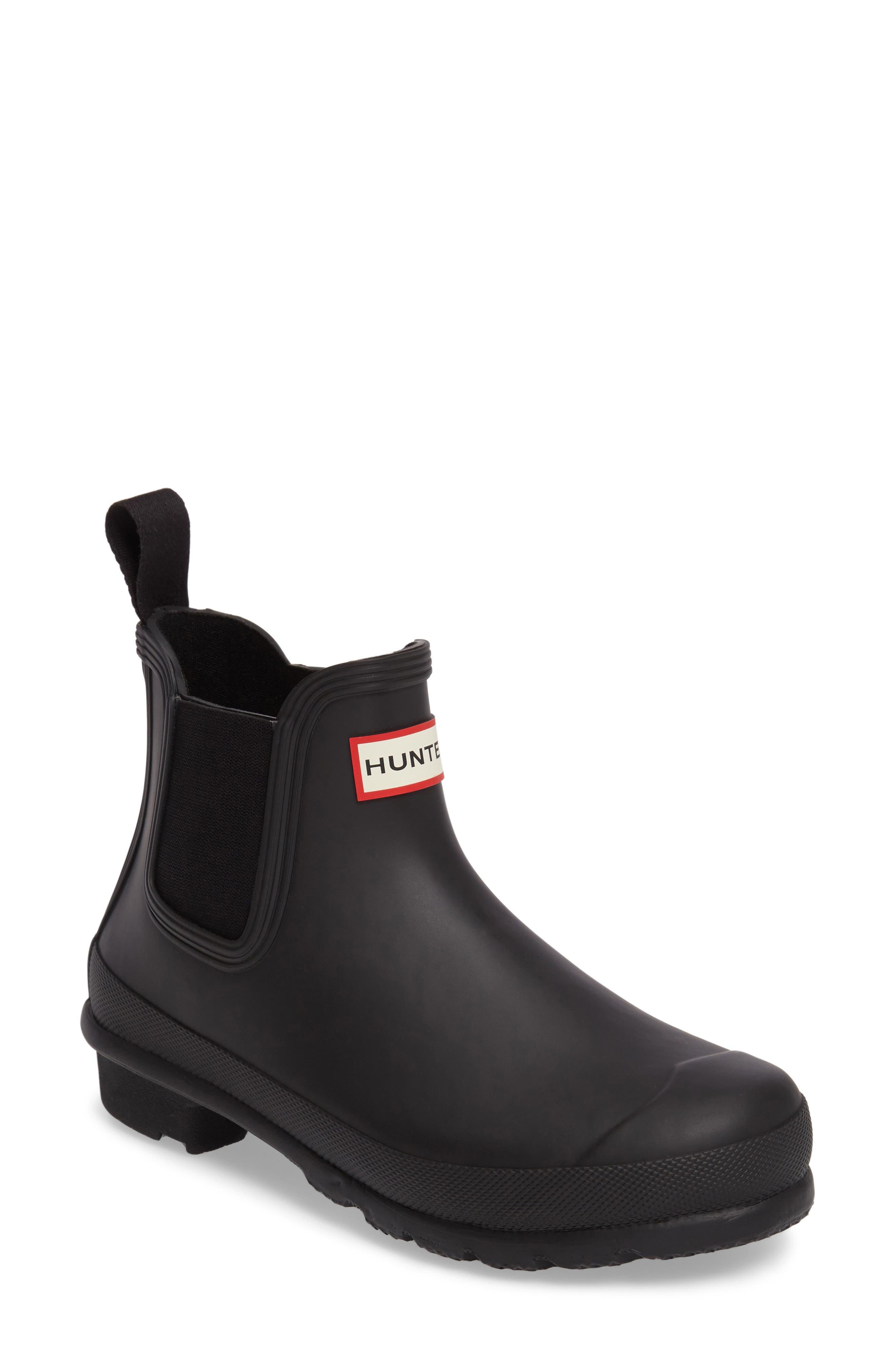 HUNTER, Original Waterproof Chelsea Rain Boot, Main thumbnail 1, color, BLACK MATTE
