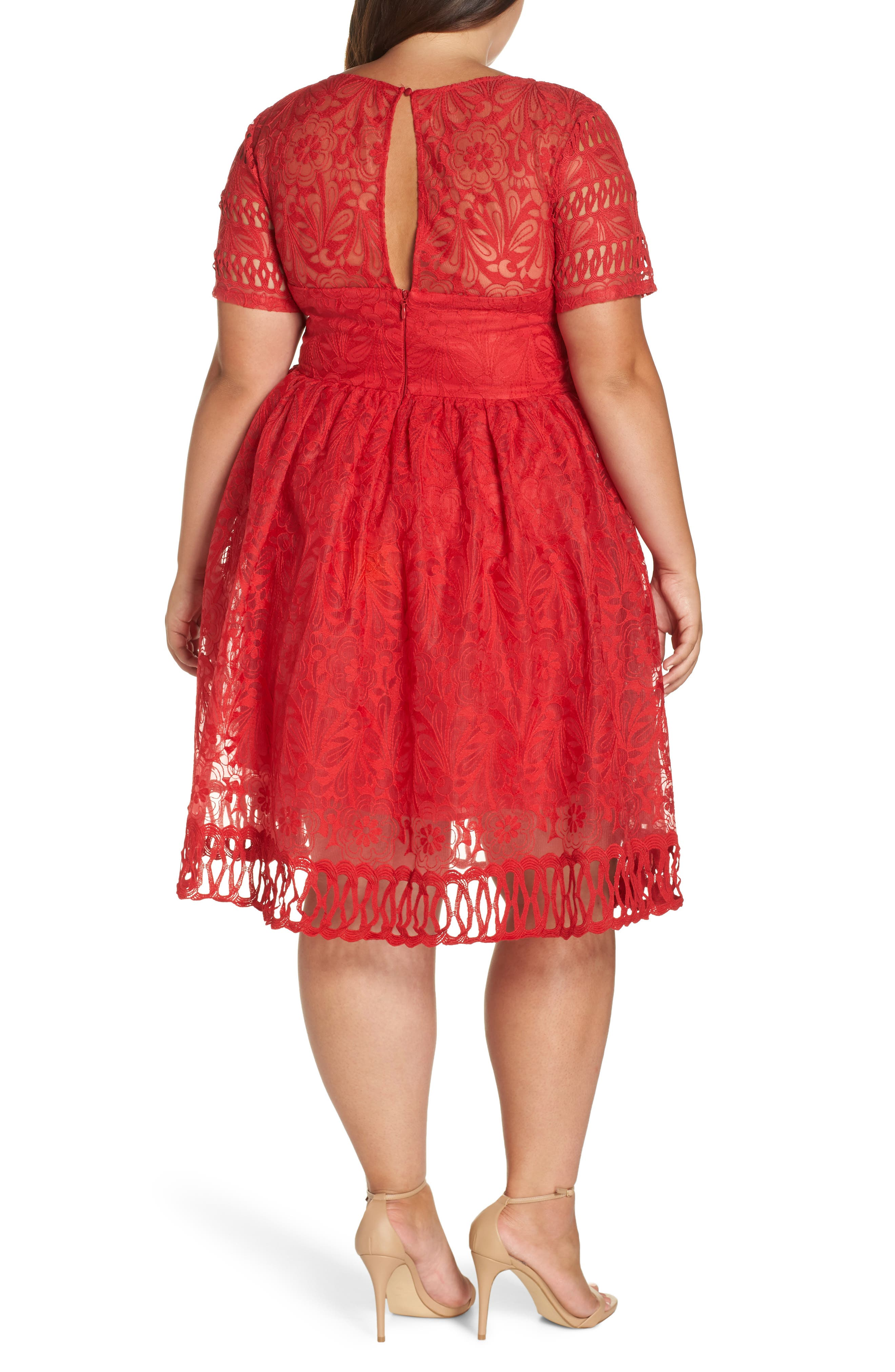 CHI CHI LONDON, Crochet Dress, Alternate thumbnail 2, color, RED