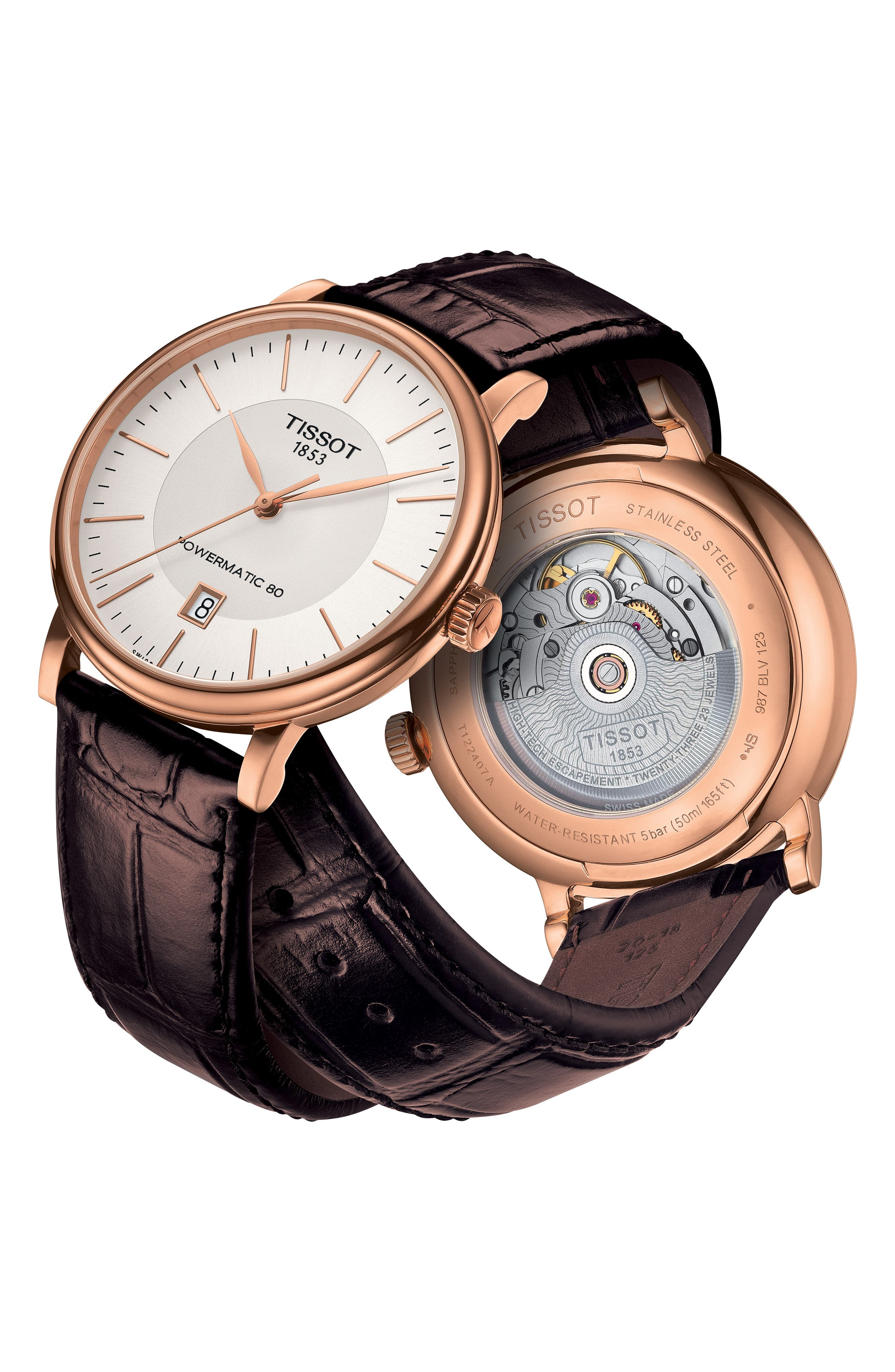 TISSOT, Premium Carson Powermatic 80 Leather Strap Watch, 40mm, Alternate thumbnail 4, color, BROWN/ SILVER/ ROSE GOLD