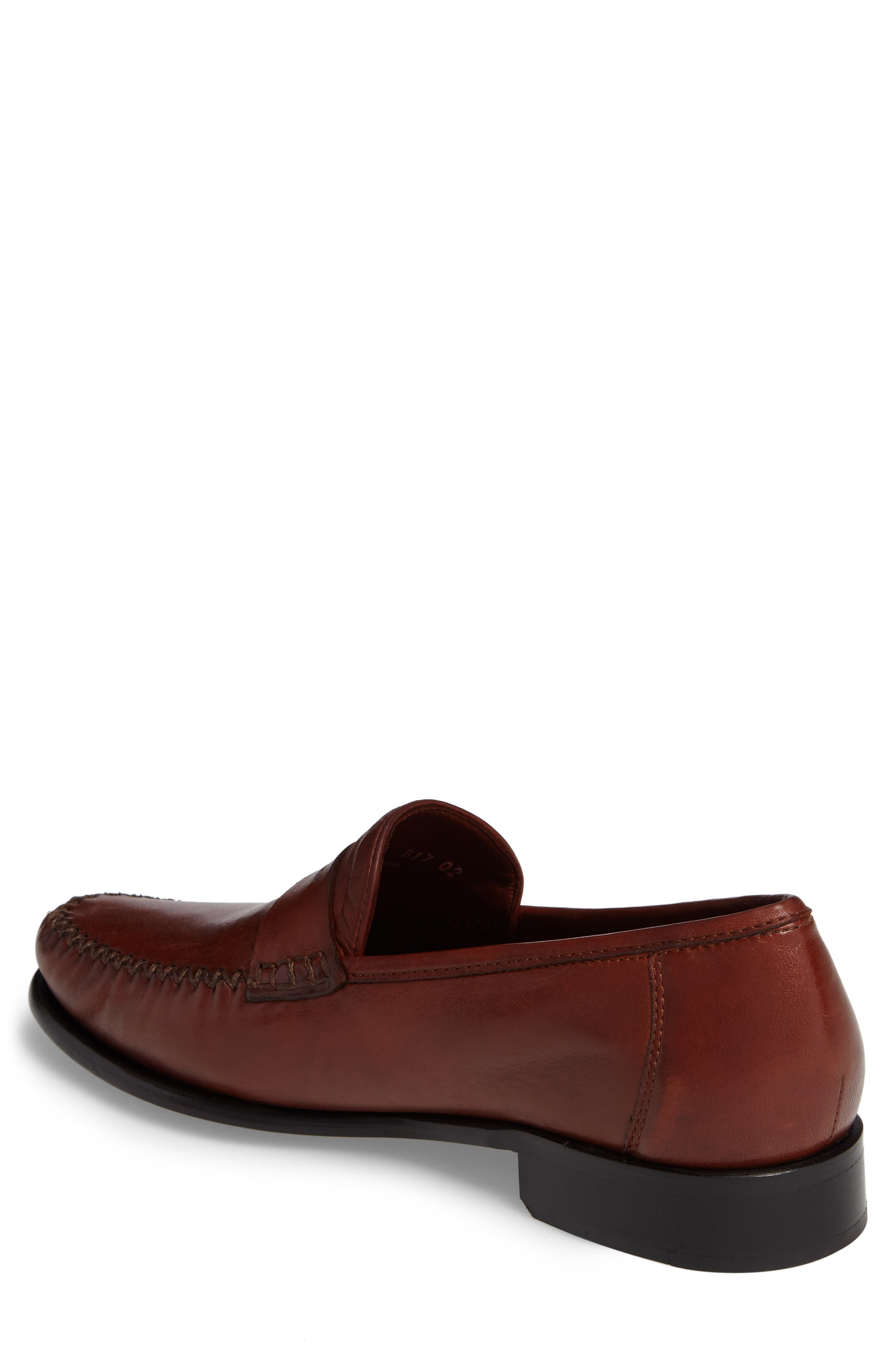 ROBERT ZUR, Penny Loafer, Alternate thumbnail 2, color, DARK LUGGAGE LEATHER