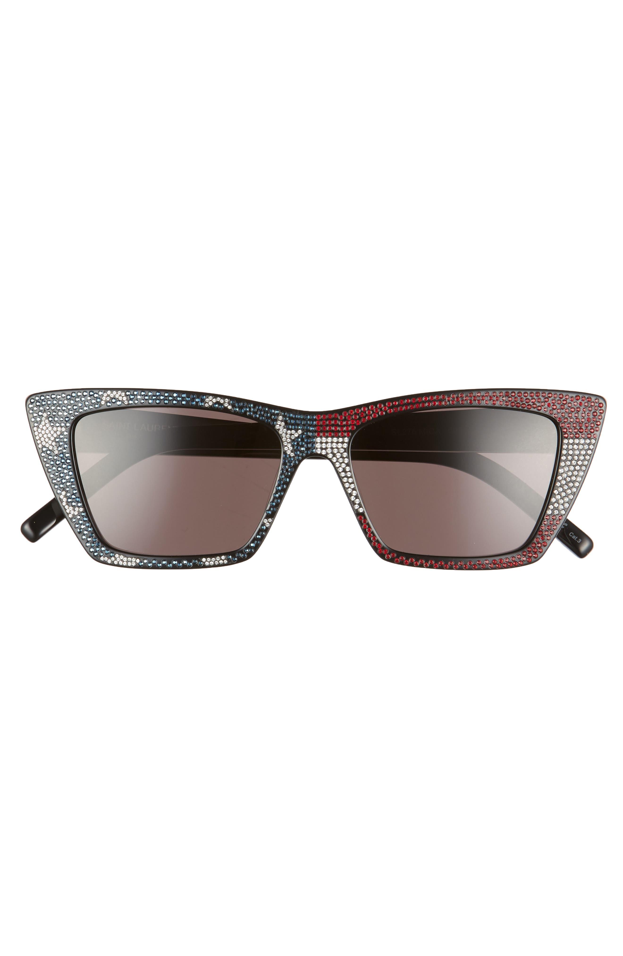 SAINT LAURENT, 53mm Cat Eye Sunglasses, Alternate thumbnail 3, color, BLACK/ CRYSTAL RED BLUE/ GREY