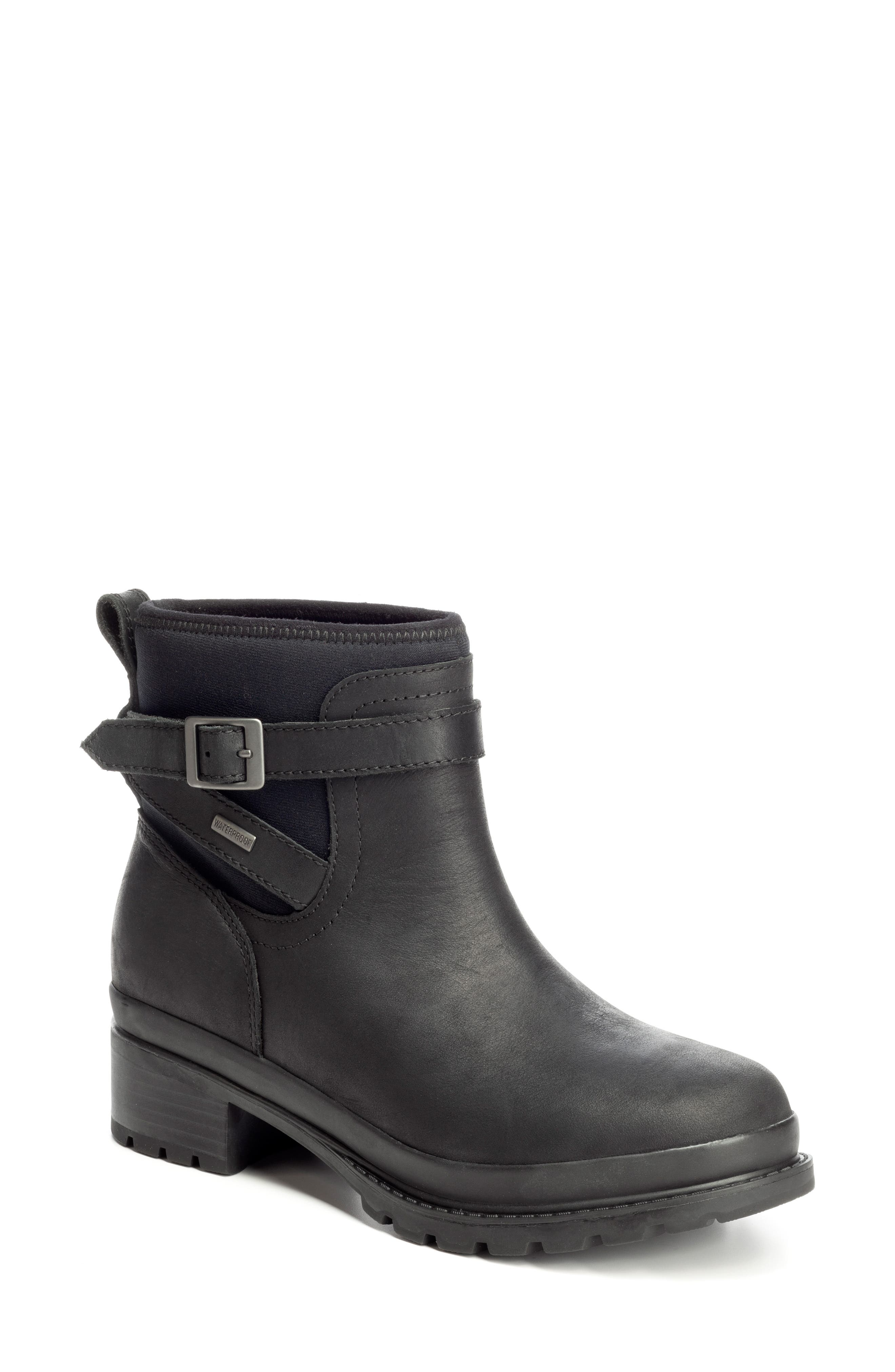 THE ORIGINAL MUCK BOOT COMPANY Liberty Waterproof Boot, Main, color, BLACK LEATHER