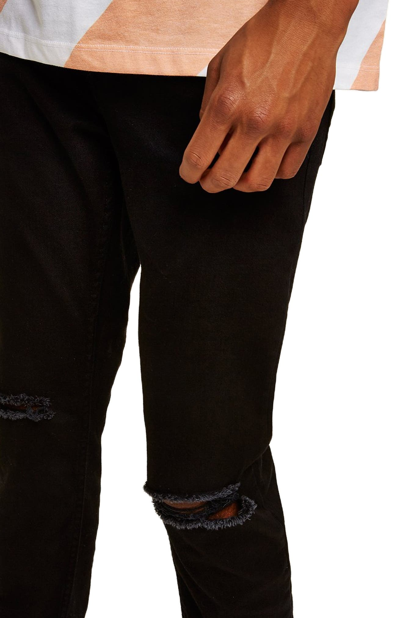 TOPMAN, Double Ripped Skinny Fit Jeans, Alternate thumbnail 4, color, BLACK