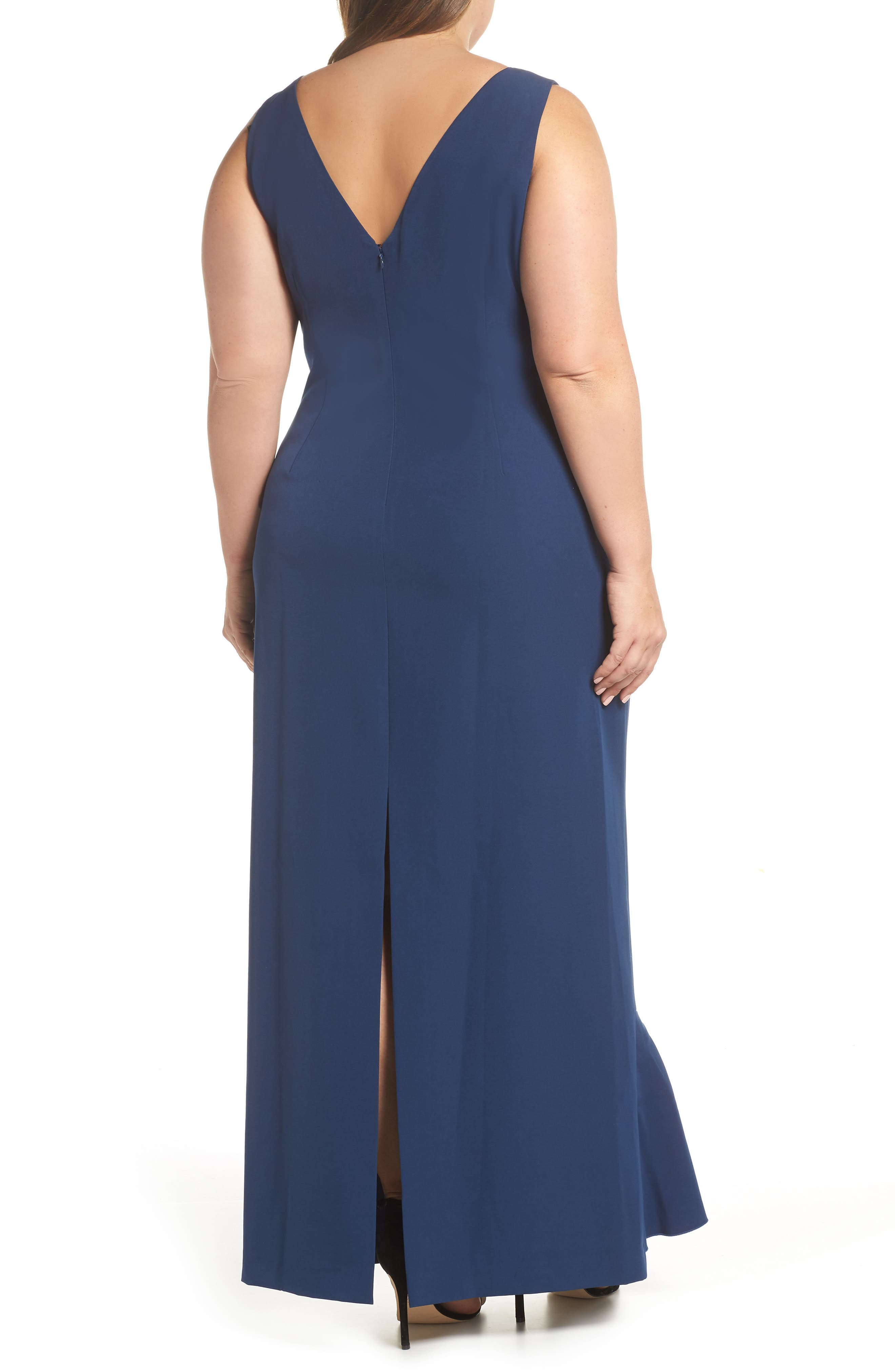 VINCE CAMUTO, Side Drape Ruffle Gown, Alternate thumbnail 2, color, 421