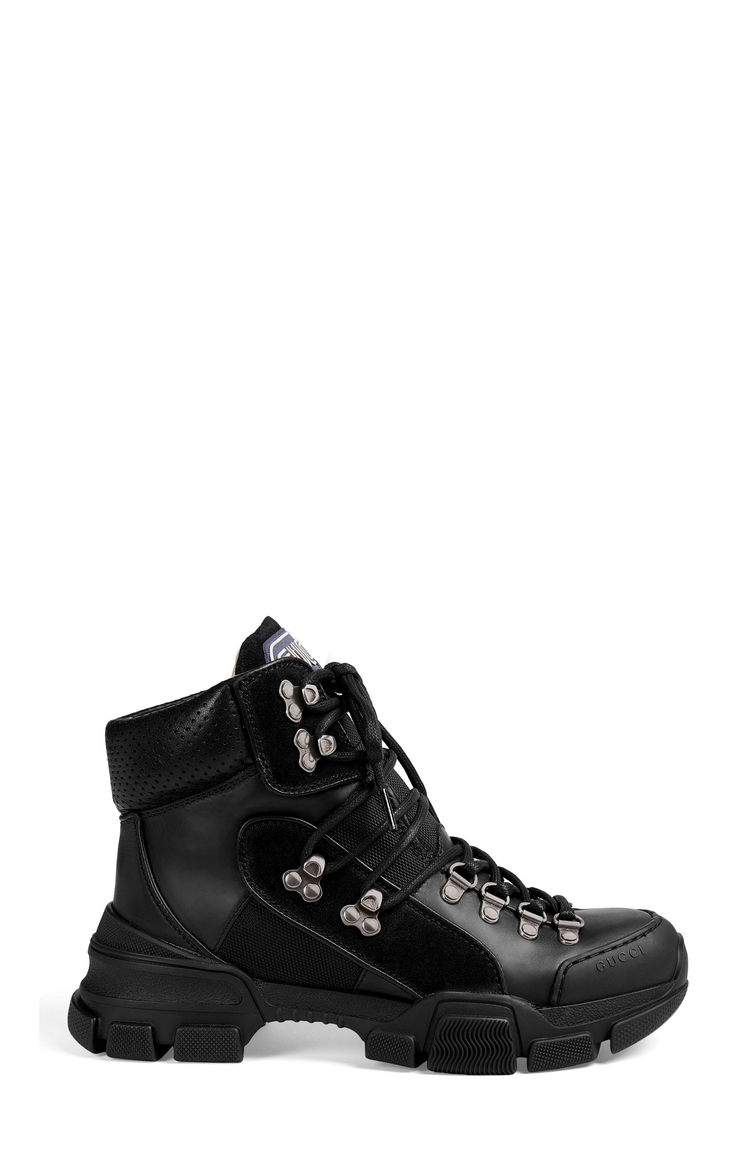 GUCCI, Lace-Up Boot, Alternate thumbnail 2, color, BLACK