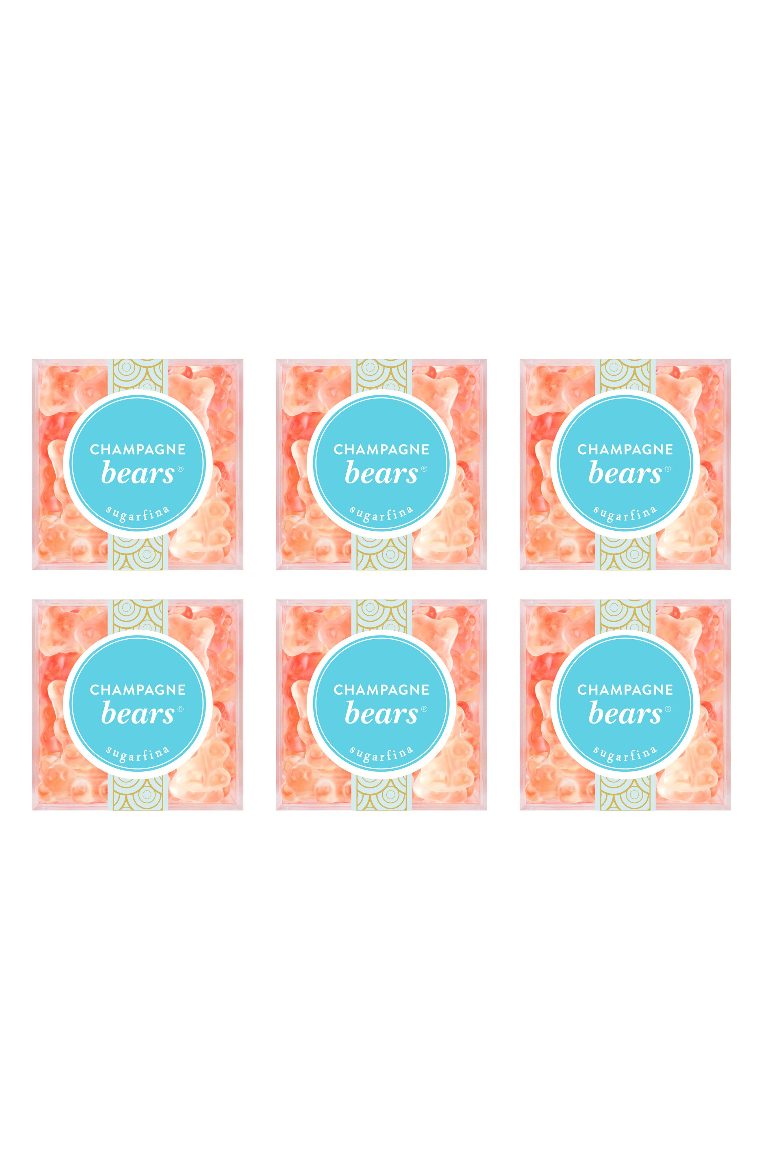SUGARFINA, Set of 6 Champagne Bears<sup>®</sup> Candy Cubes, Alternate thumbnail 2, color, PINK