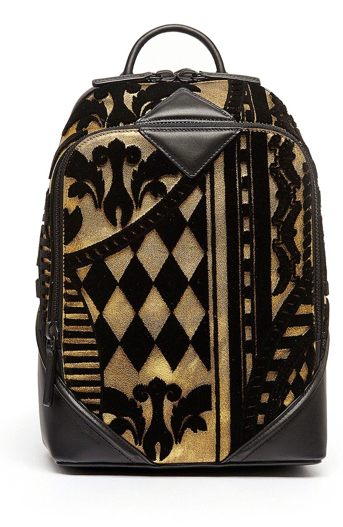 MCM 'Duke Tapisserie' Goat Leather Backpack, Main, color, 710
