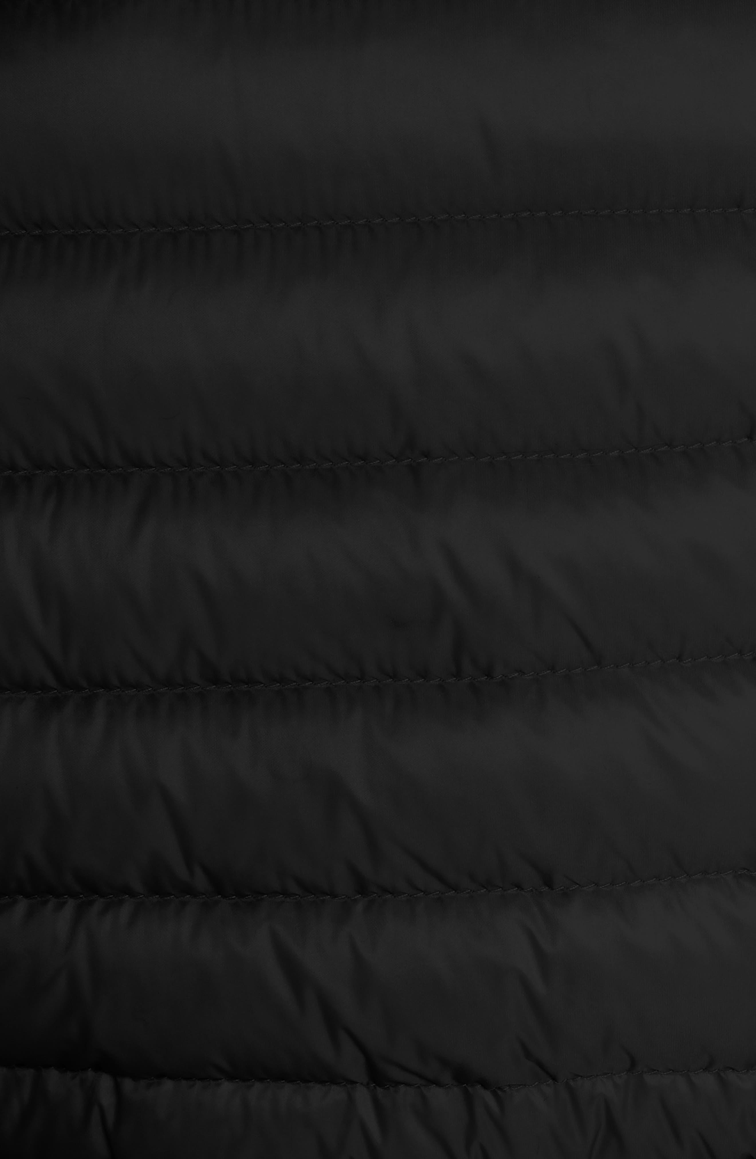 MONCLER, Raie Tie Waist Hooded Down Coat, Alternate thumbnail 6, color, BLACK