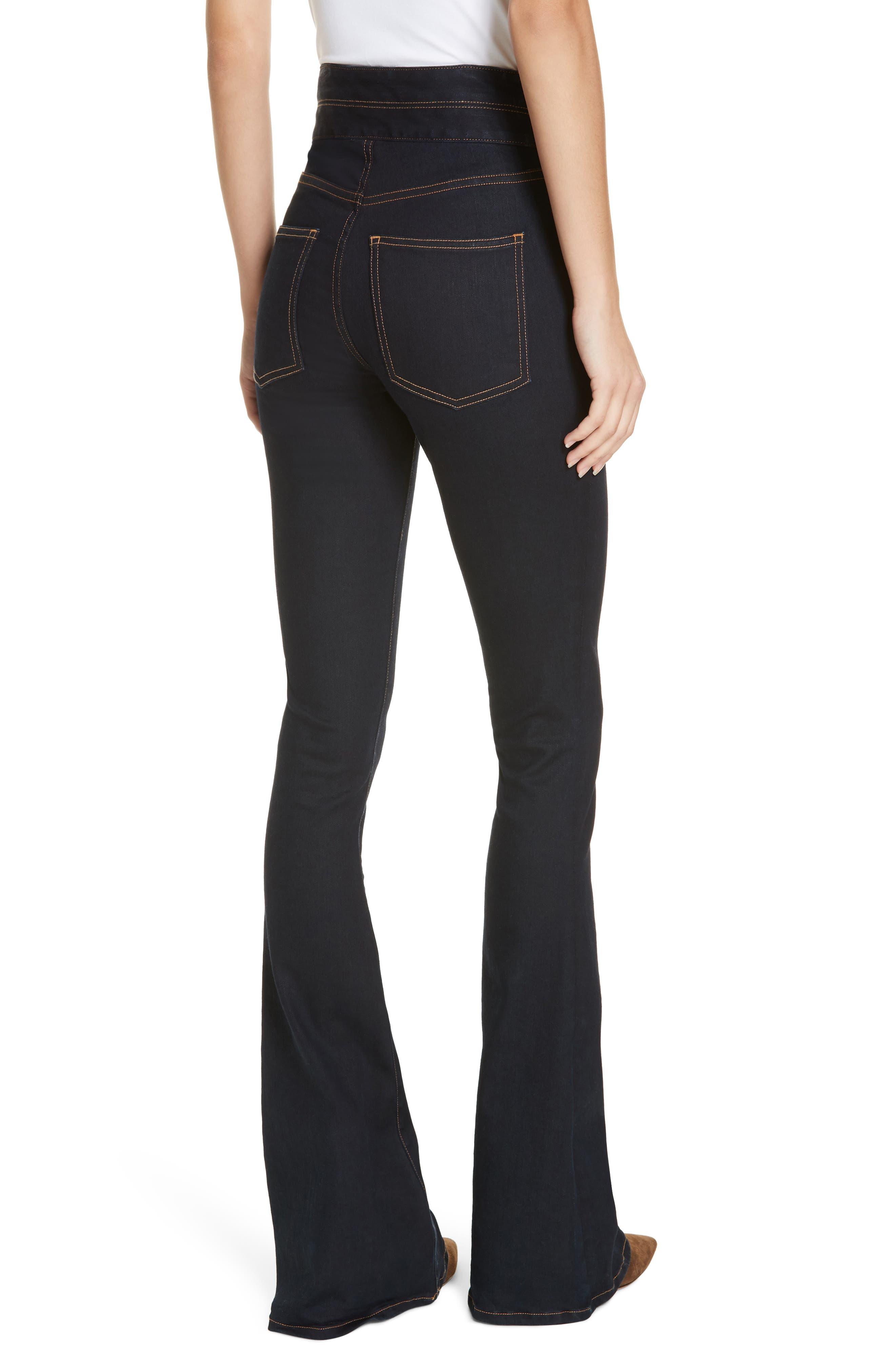 VERONICA BEARD, Dalida Button Detail Skinny Flare Jeans, Alternate thumbnail 2, color, INDIGO
