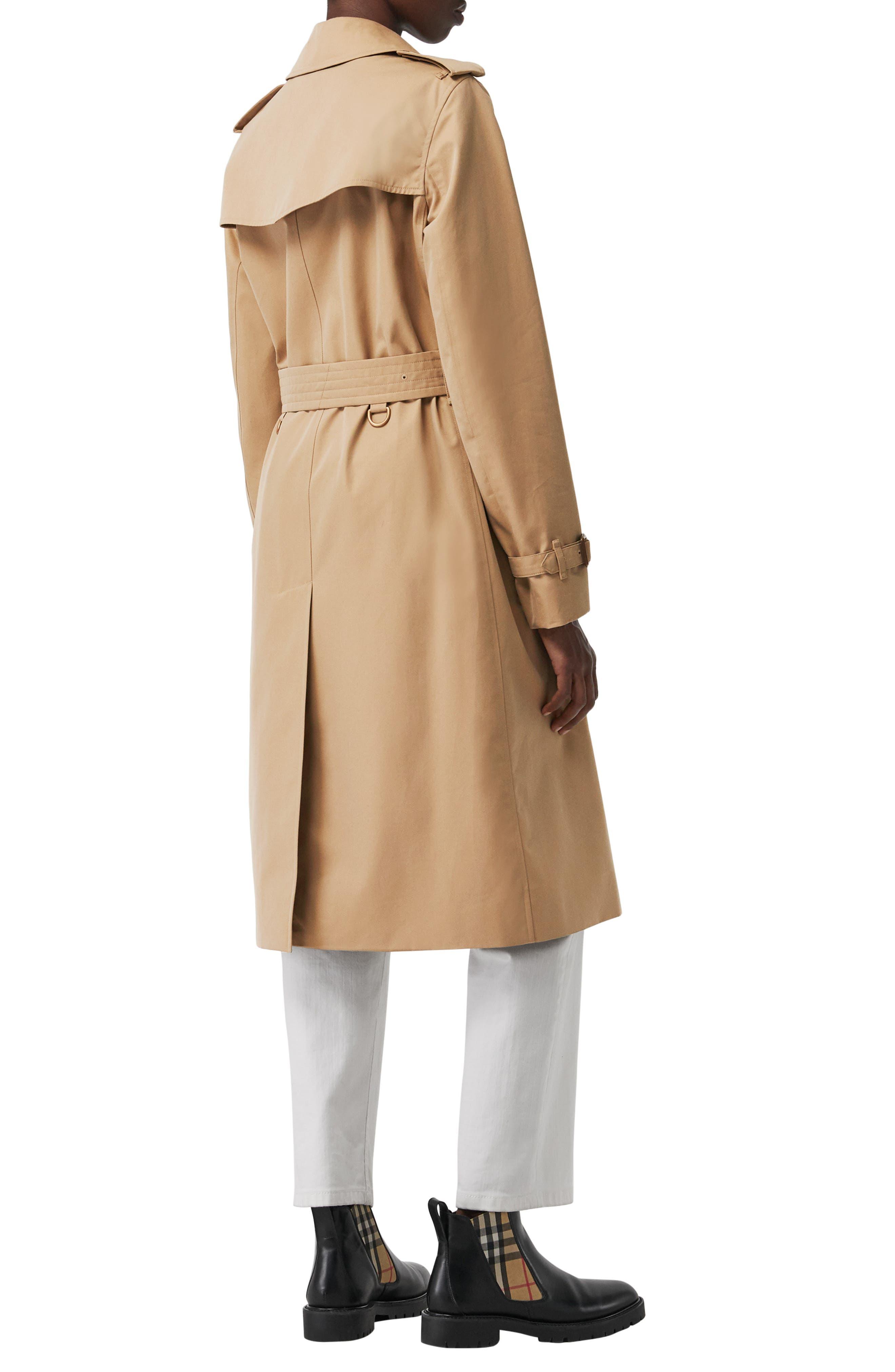 BURBERRY, Kensington Long Trench Coat, Alternate thumbnail 3, color, DARK HONEY