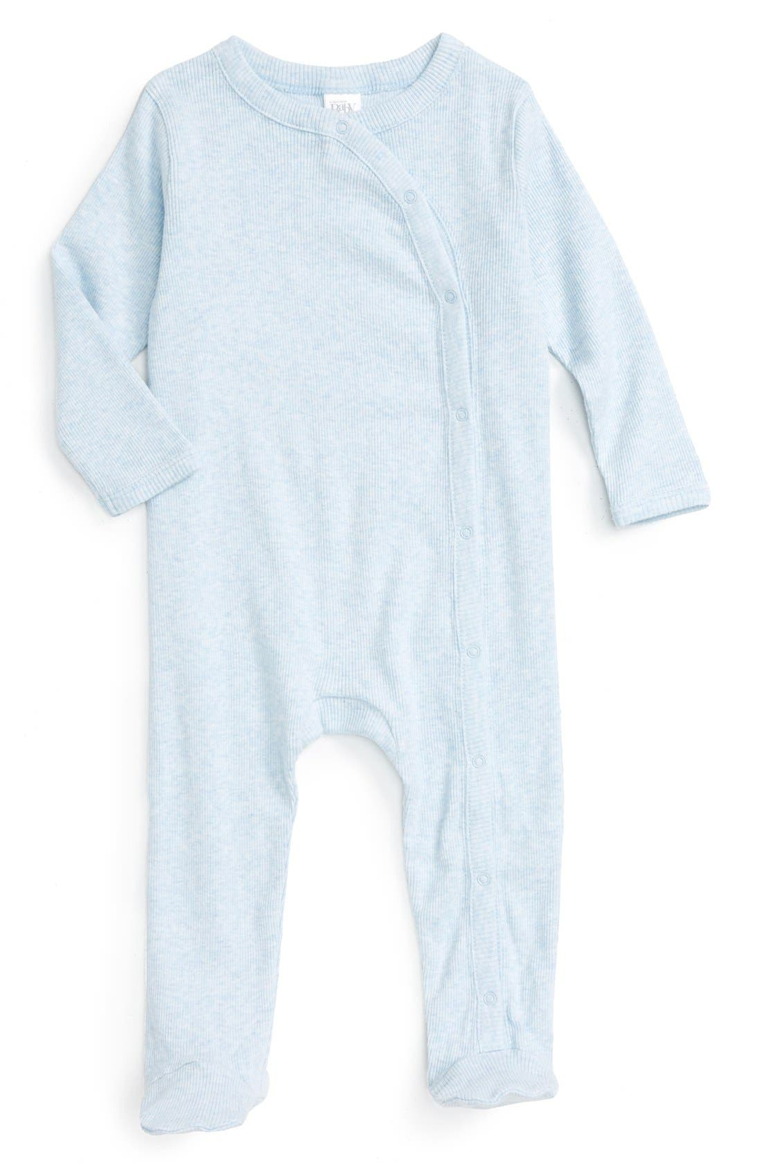 NORDSTROM BABY, Rib Knit Footie, Main thumbnail 1, color, BLUE PRECIOUS HEATHER