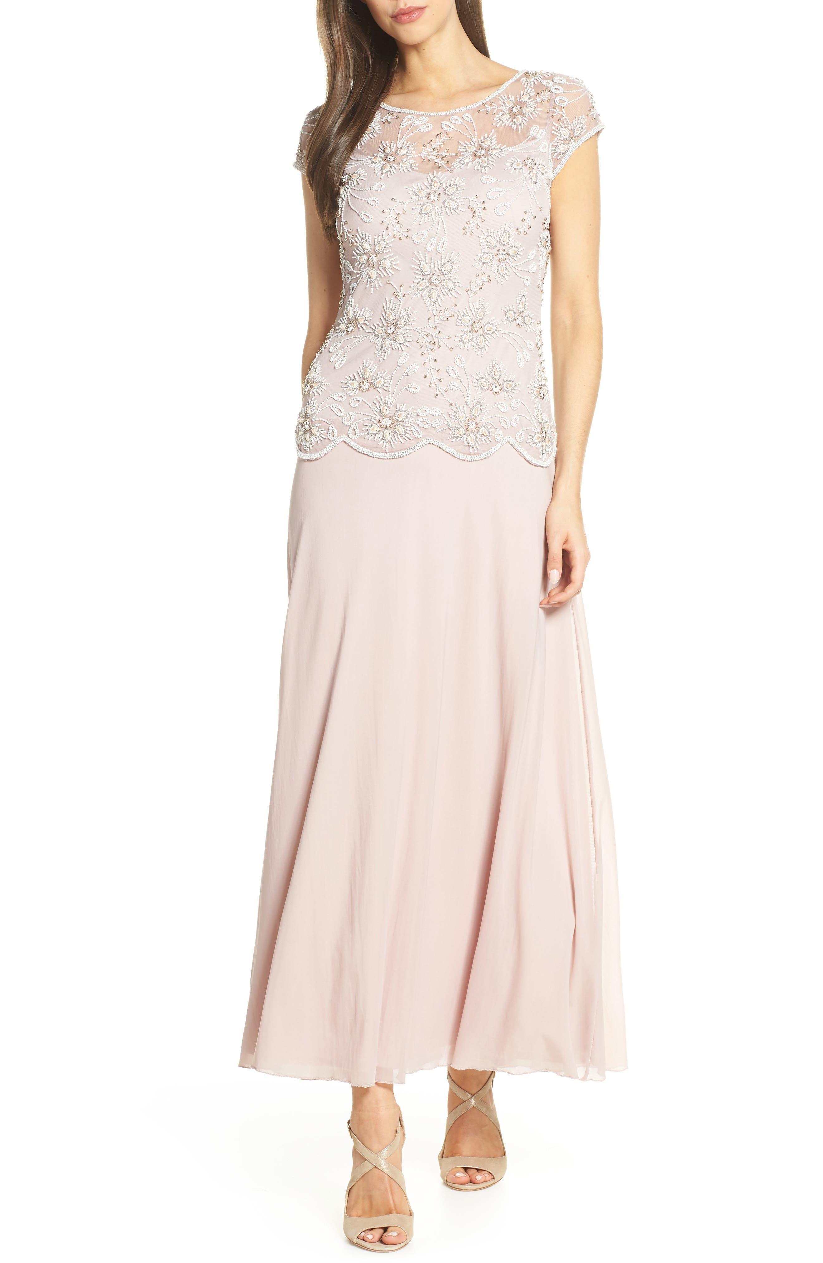 PISARRO NIGHTS Beaded Mesh Gown, Main, color, ROSE