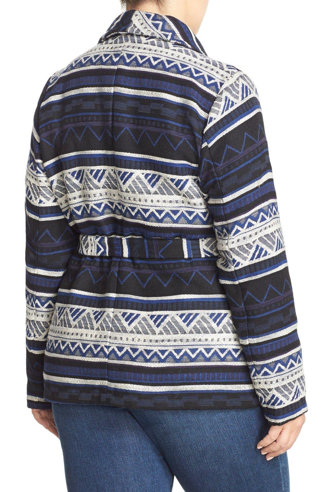 BB DAKOTA, 'Huntington' Jacquard Wrap Coat, Alternate thumbnail 4, color, 480