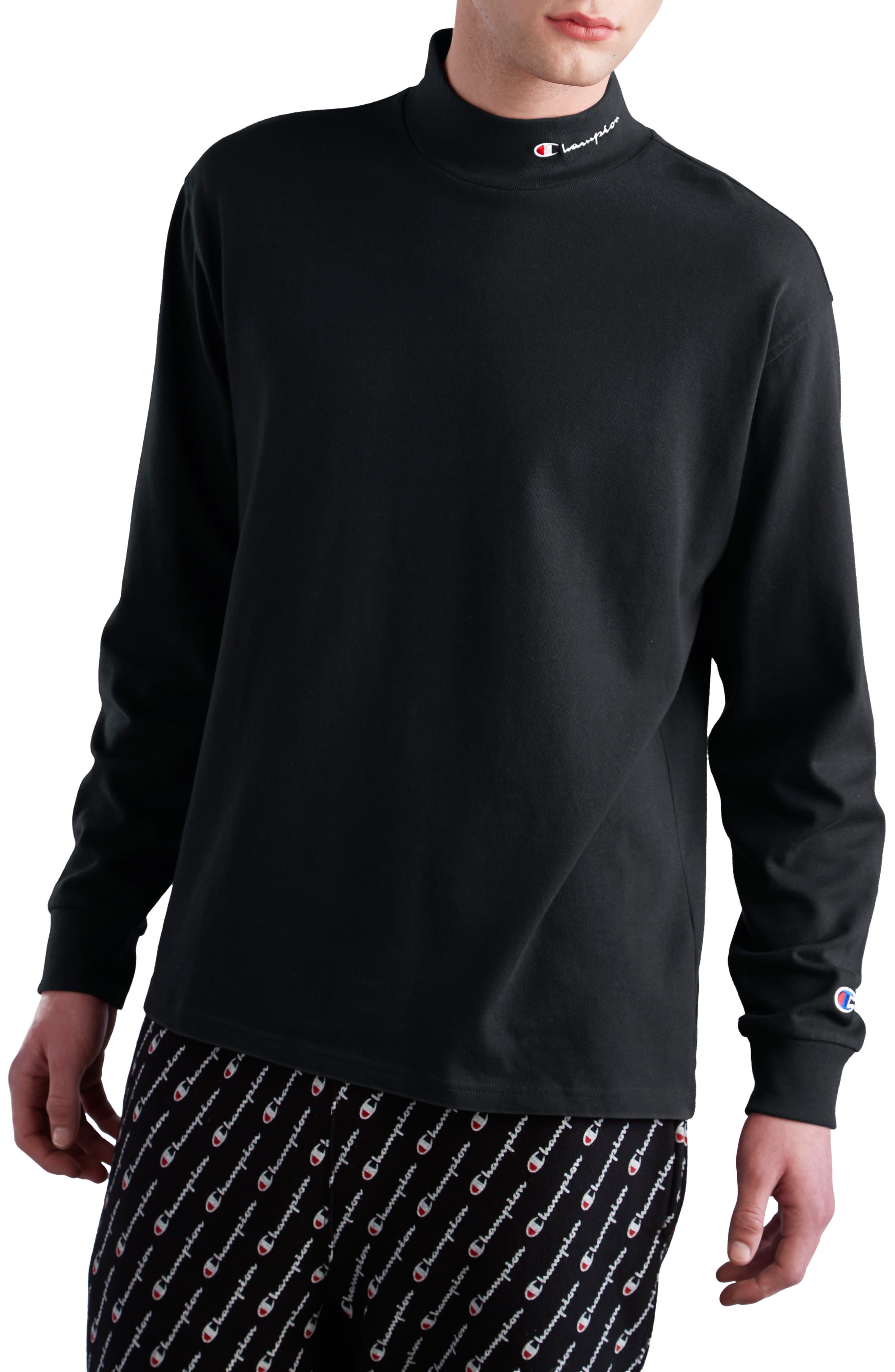 CHAMPION, Heavyweight Mock Neck T-Shirt, Main thumbnail 1, color, BLACK
