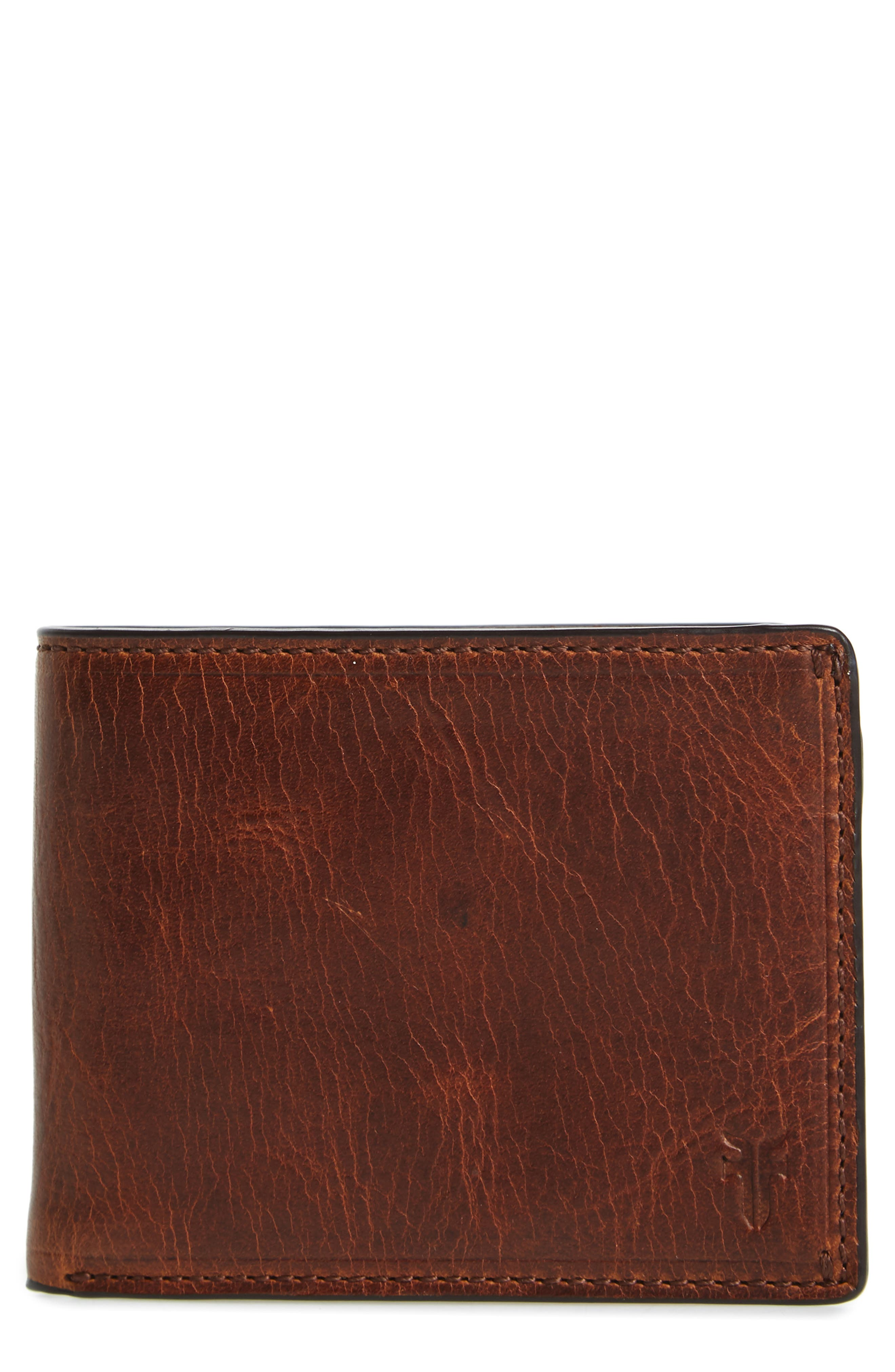 FRYE, Logan Leather Wallet, Main thumbnail 1, color, COGNAC