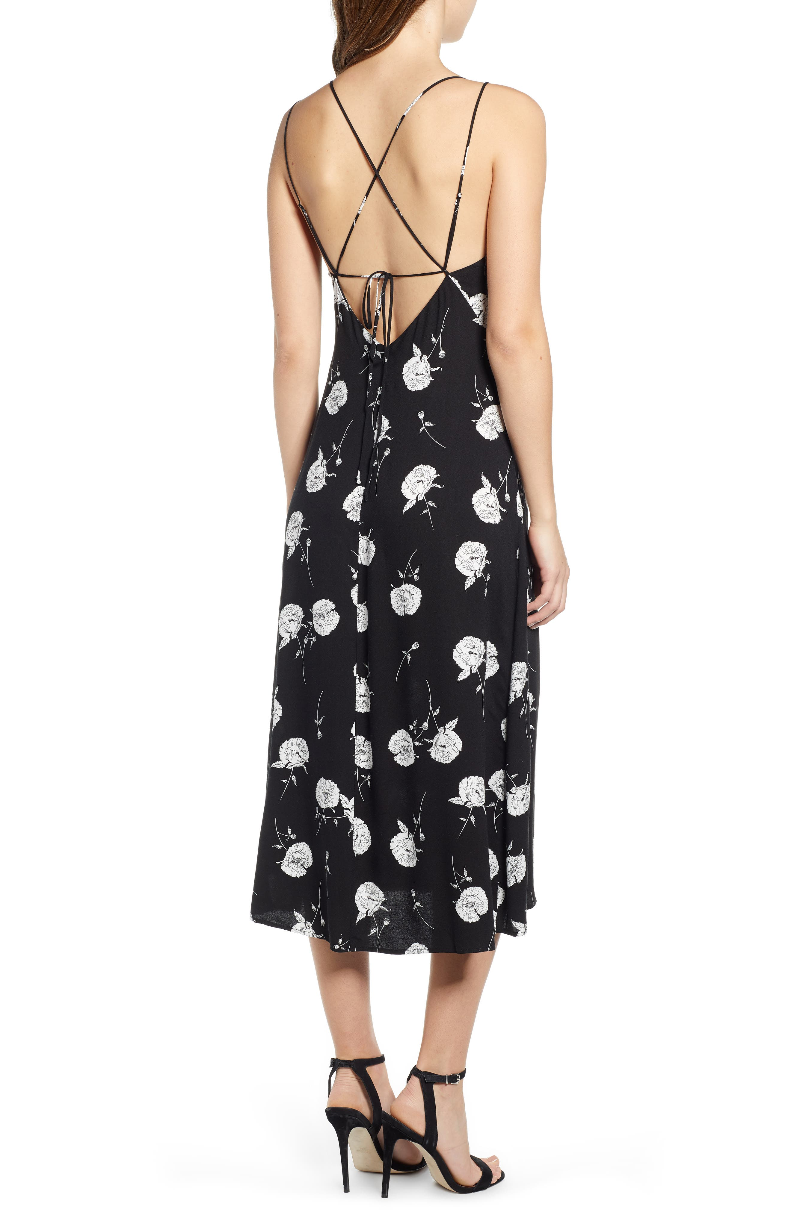 LEITH, Floral Strappy Midi Dress, Alternate thumbnail 2, color, BLACK TWO FLORAL