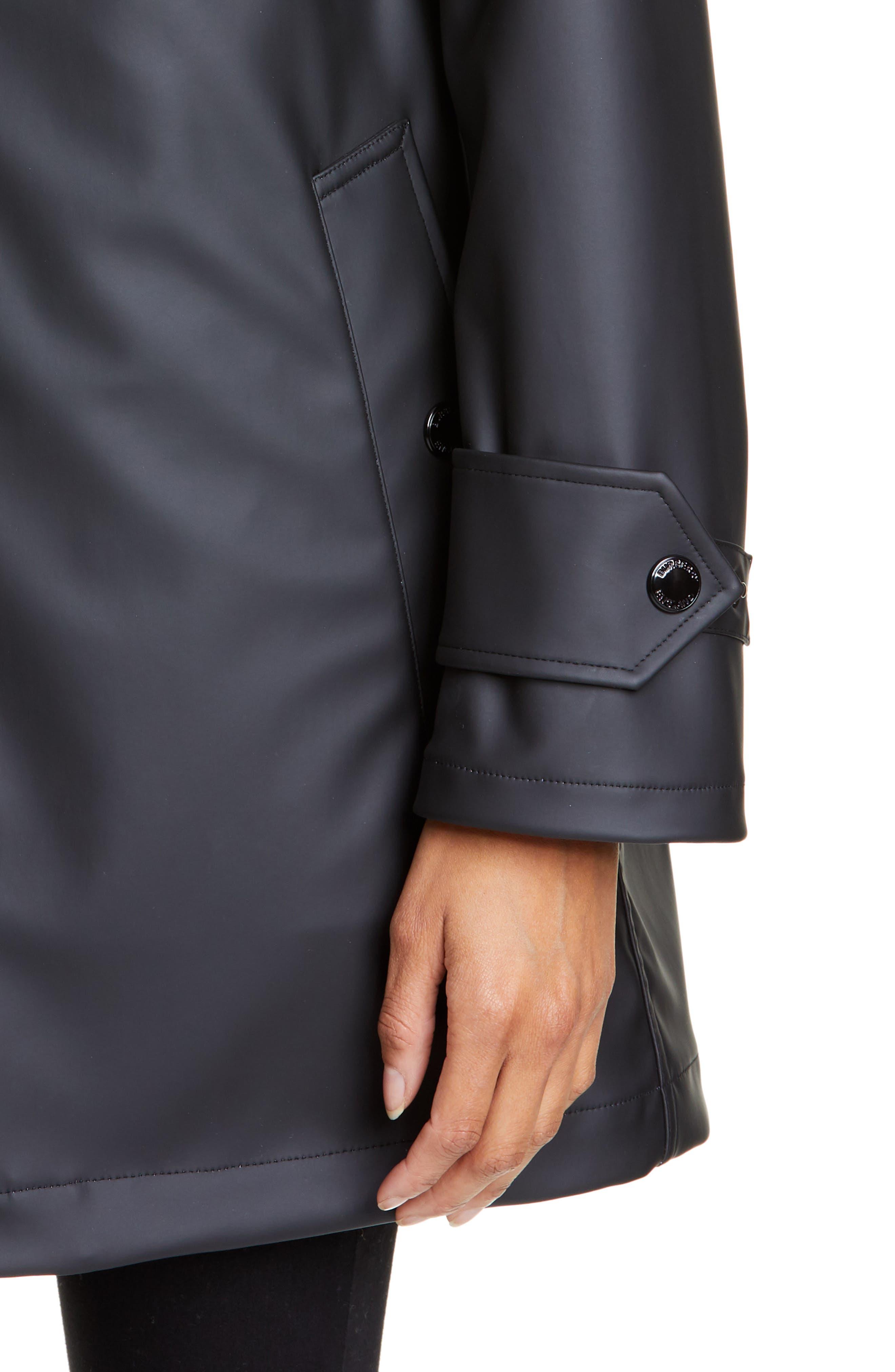 BURBERRY, Hartlebury Coated Rain Coat, Alternate thumbnail 4, color, BLACK / WHITE