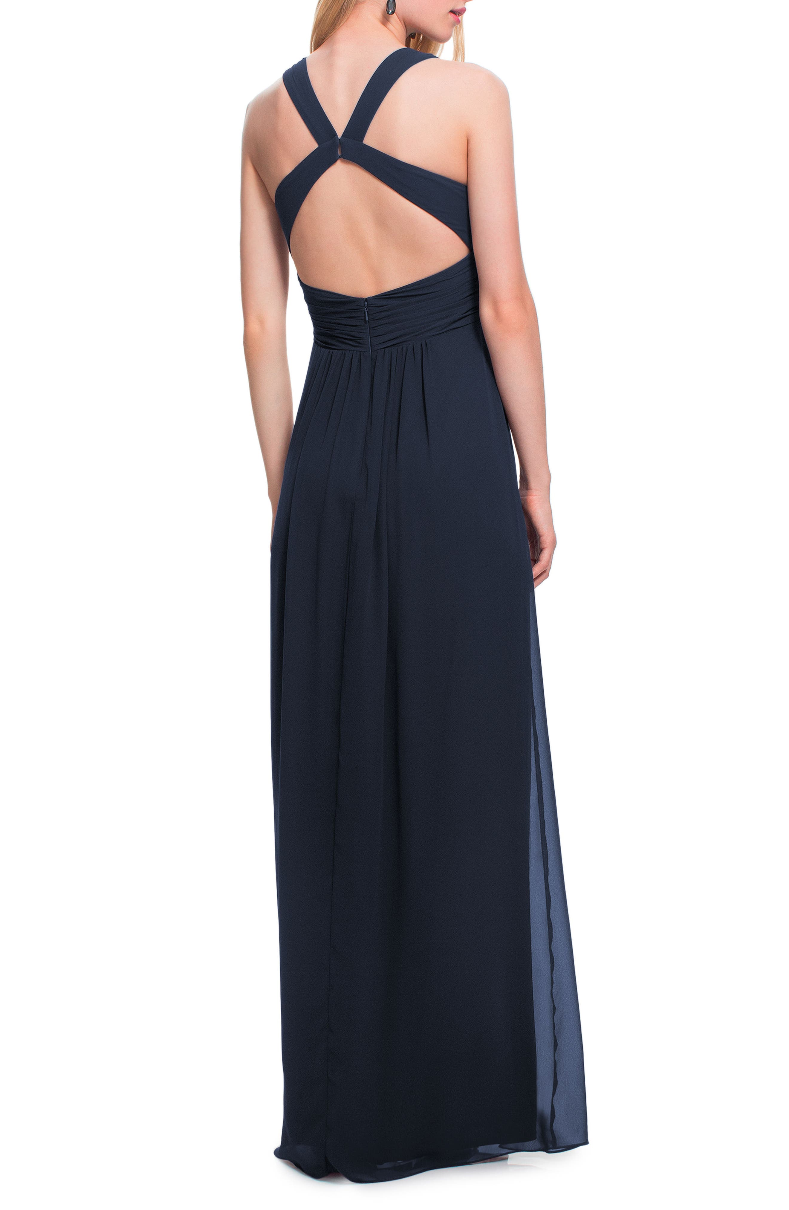 #LEVKOFF, Back Cutout Chiffon Gown, Alternate thumbnail 2, color, NAVY